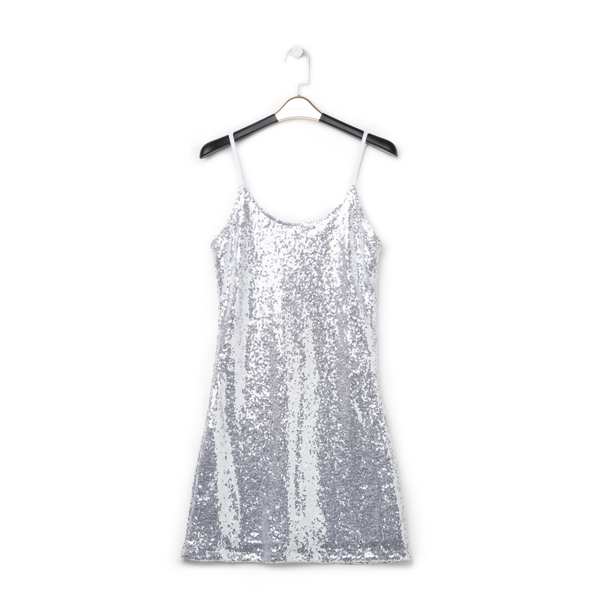 Mini-dress argento in tessuto e paillettes
