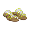 Mules flat gialle in vernice fluo con effetto see through