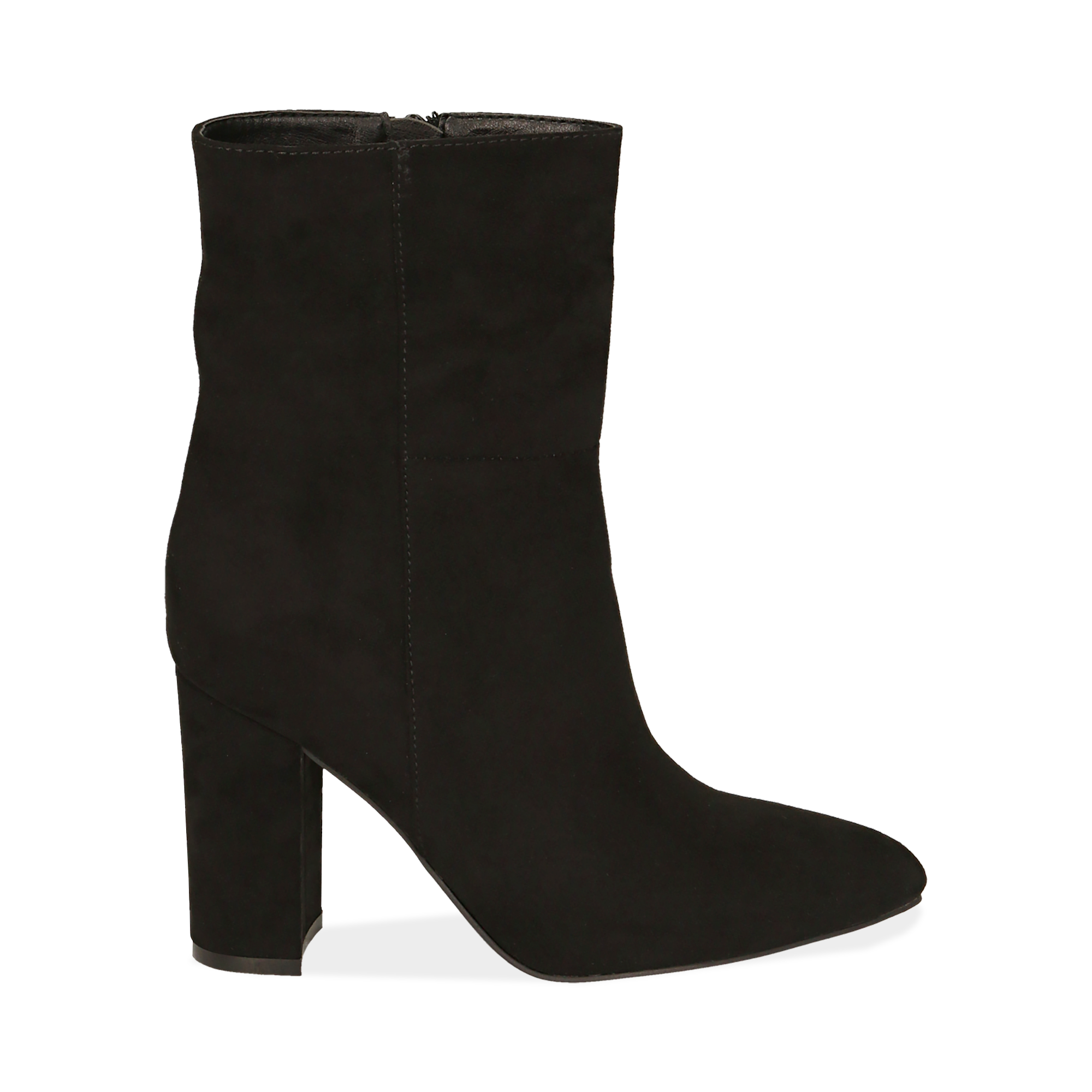 Ankle boots neri in microfibra, tacco 9,50 cm