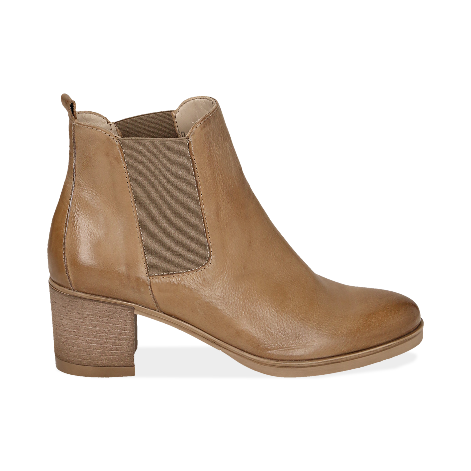 Chelsea boots cuoio in pelle, tacco 6 cm