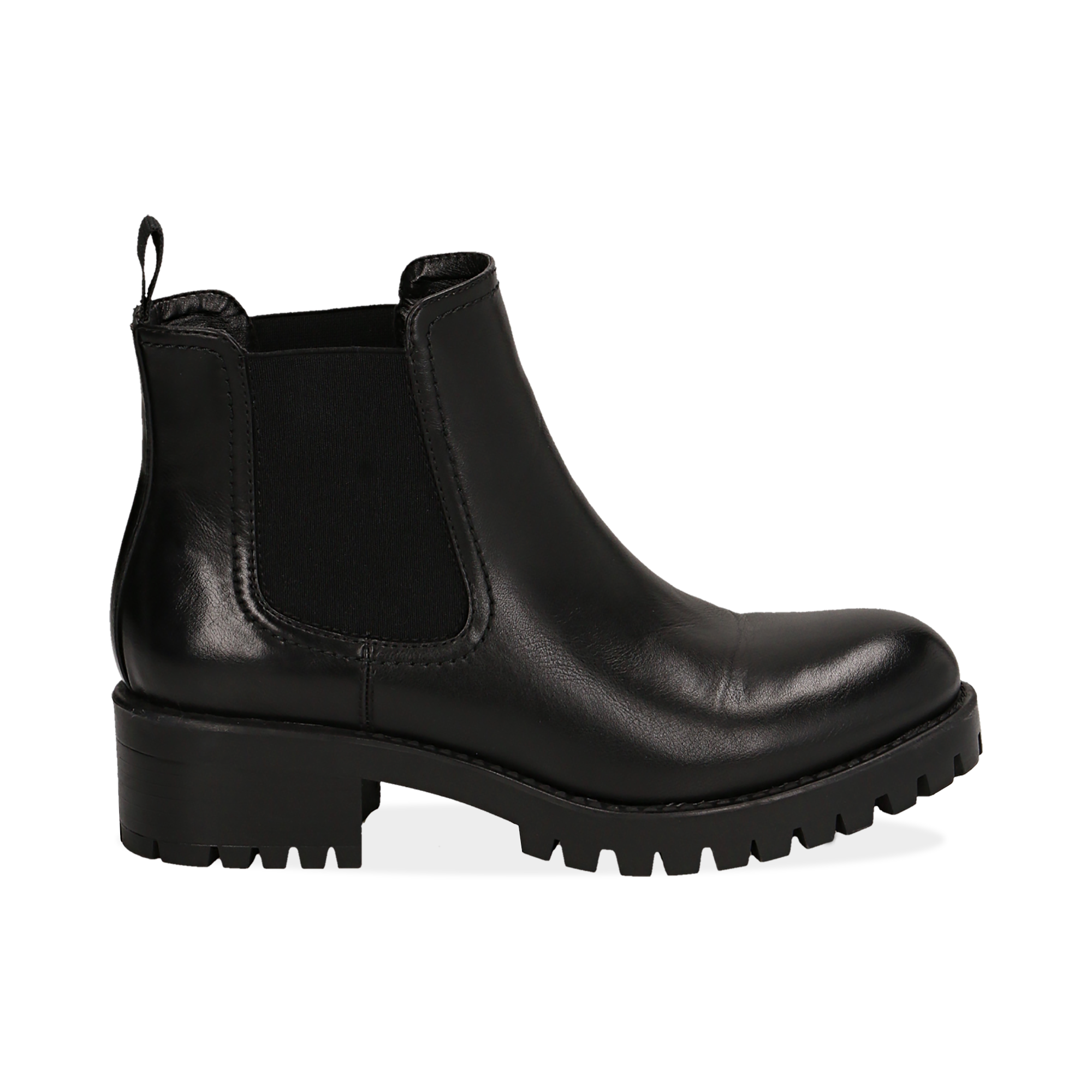 Chelsea boots neri in eco-pelle, tacco 4,5 cm