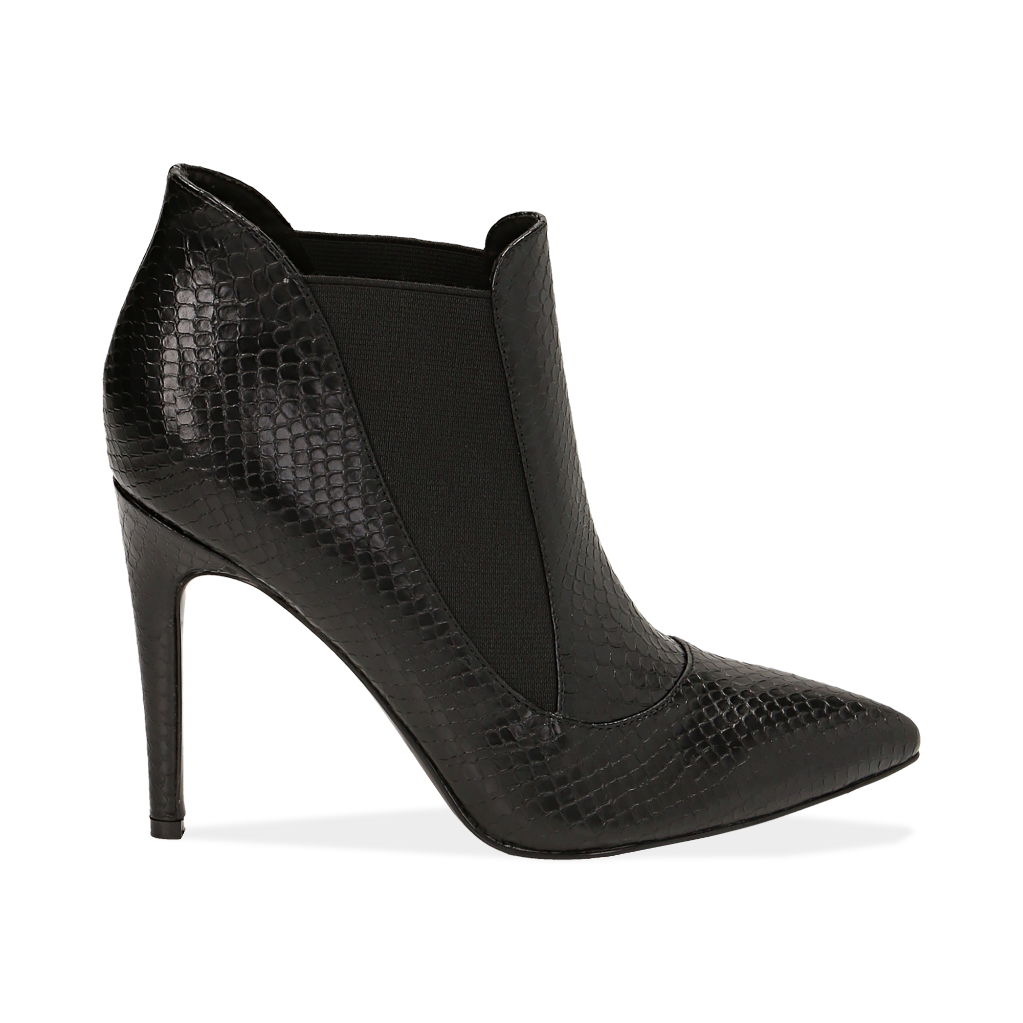 Ankle boots neri stampa vipera, tacco 10,50 cm