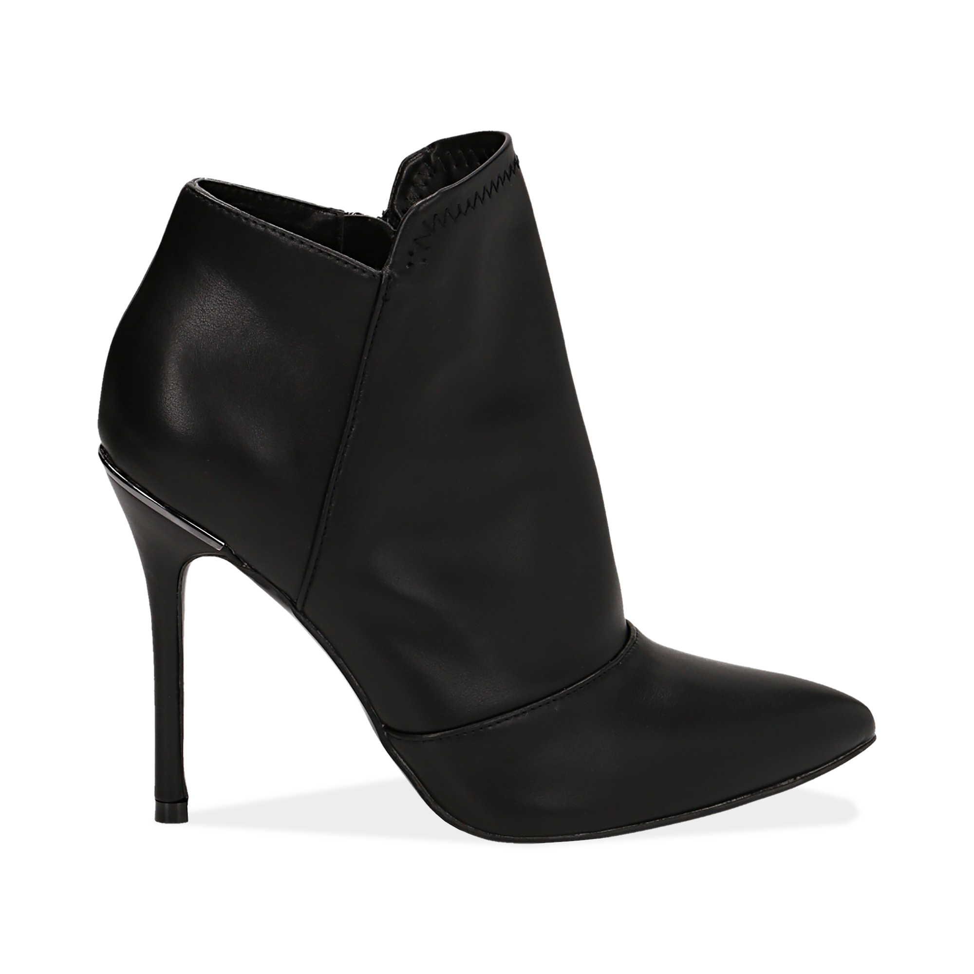 Ankle boots neri in eco-pelle, tacco 10, 50 cm
