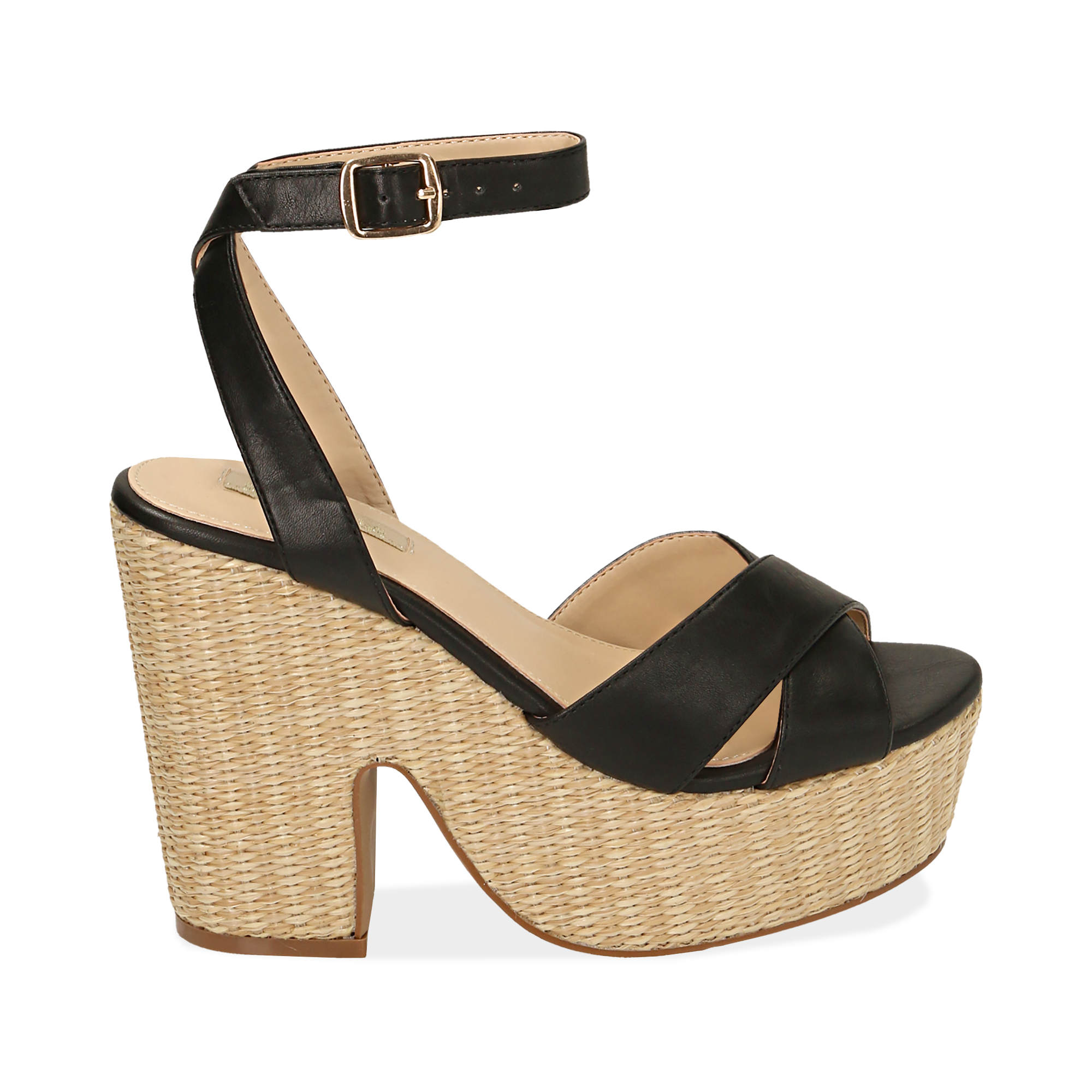 WOMEN SHOES WEDGE ECO-LEATHER NERO