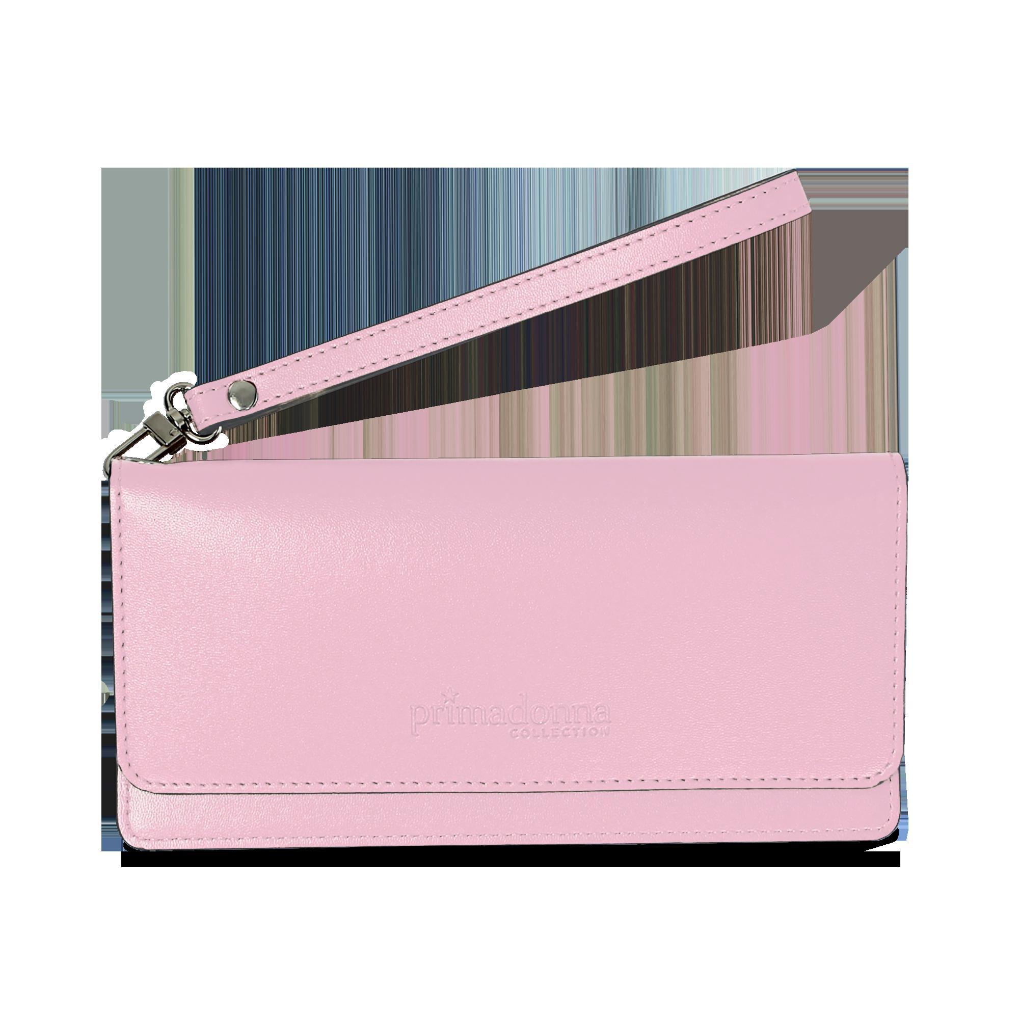 c196d63d07 14 Portafoglio rosa in eco-pelle con laccetto per il polso