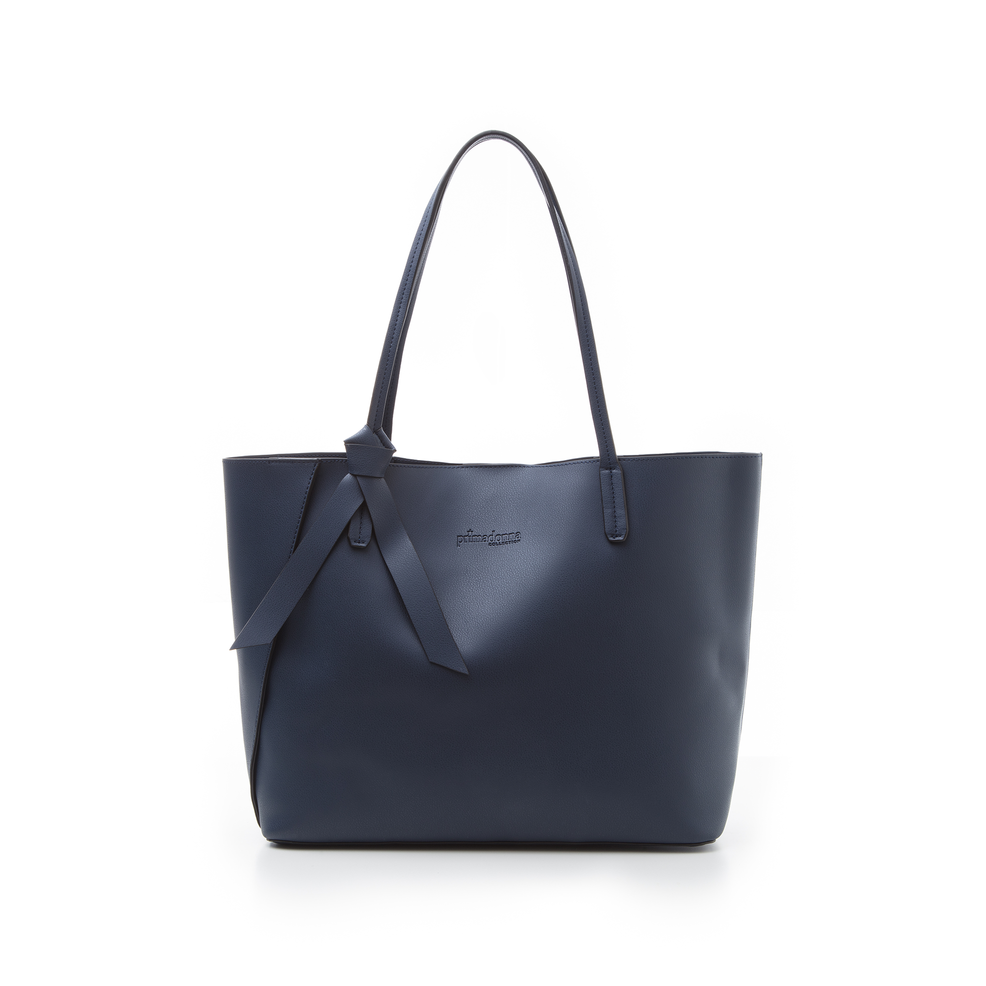 Shopping bag blu in eco-pelle con fiocco decor