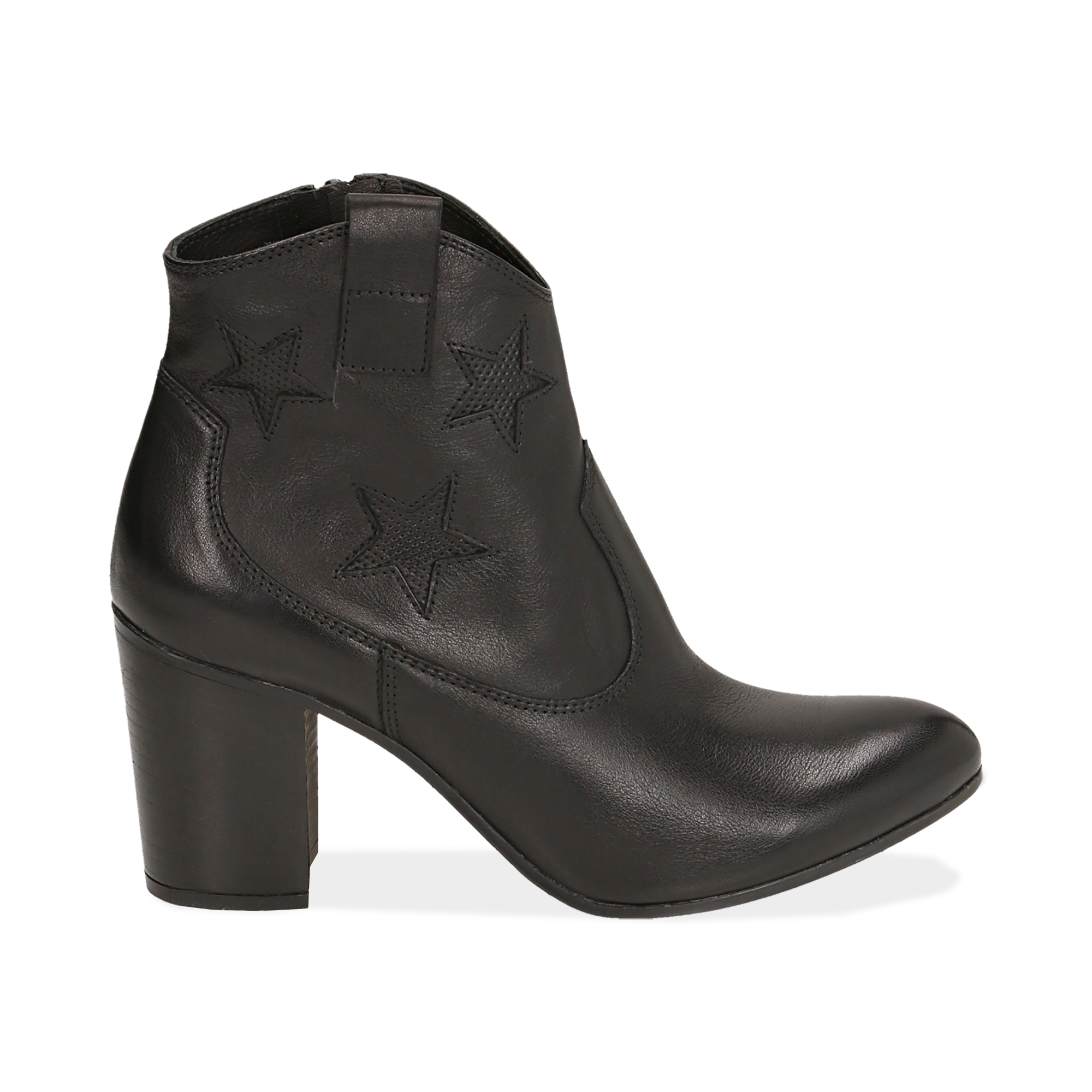 Ankle boots neri in pelle con stelle ricamate, tacco 7,50 cm