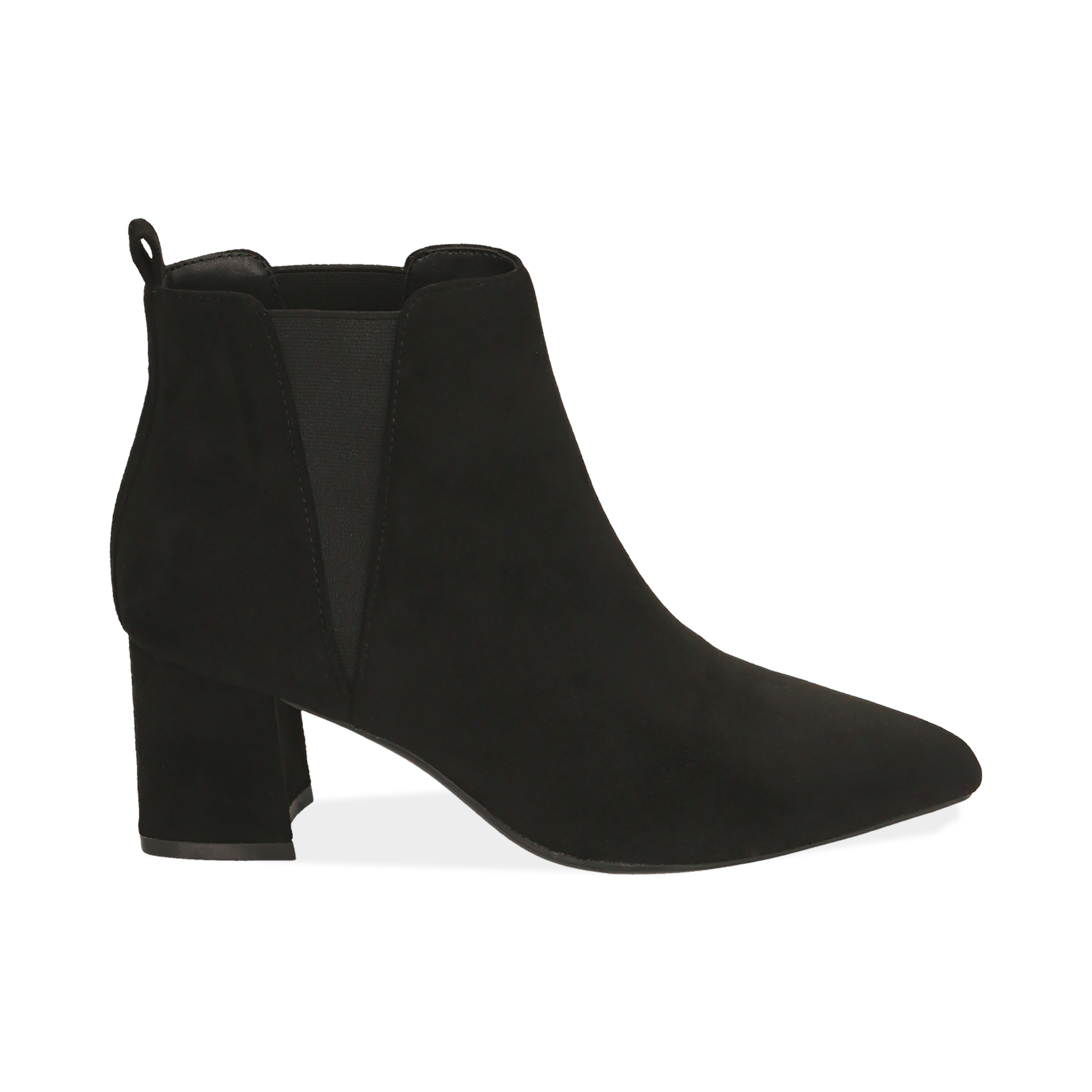 Ankle boots neri in microfibra, tacco 6 cm