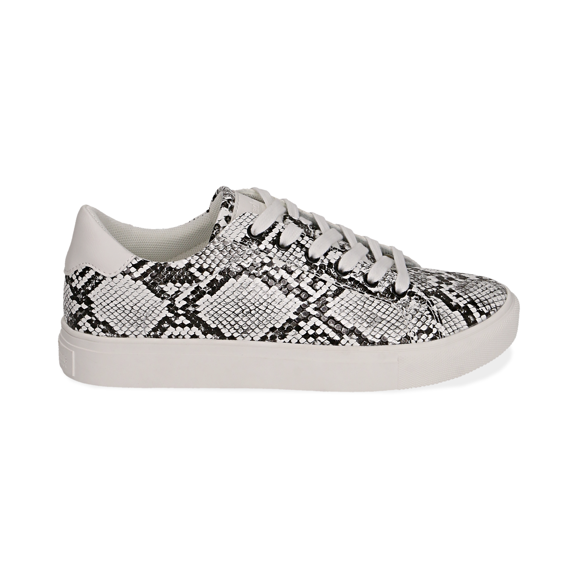 Sneakers en ecopiel con estampado de serpiente color blanco/negro