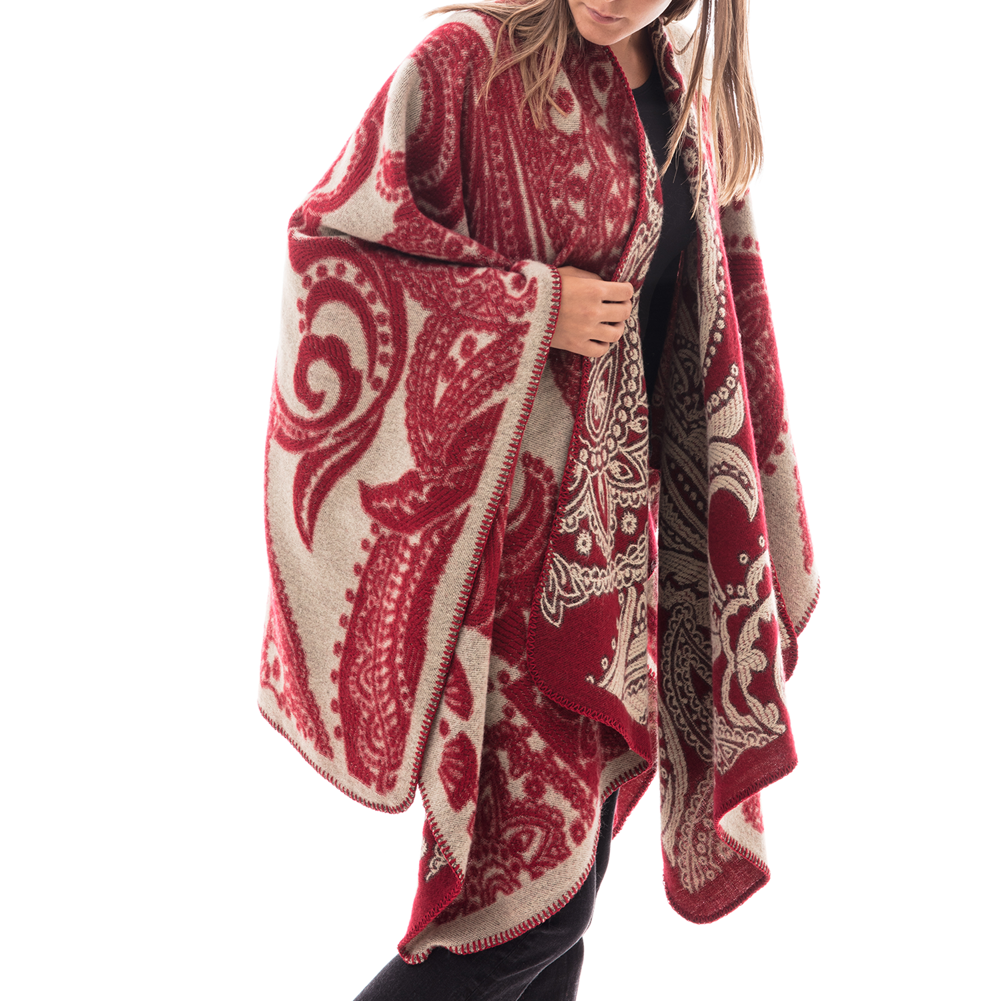 Poncho rosso con stampa paisley in tessuto