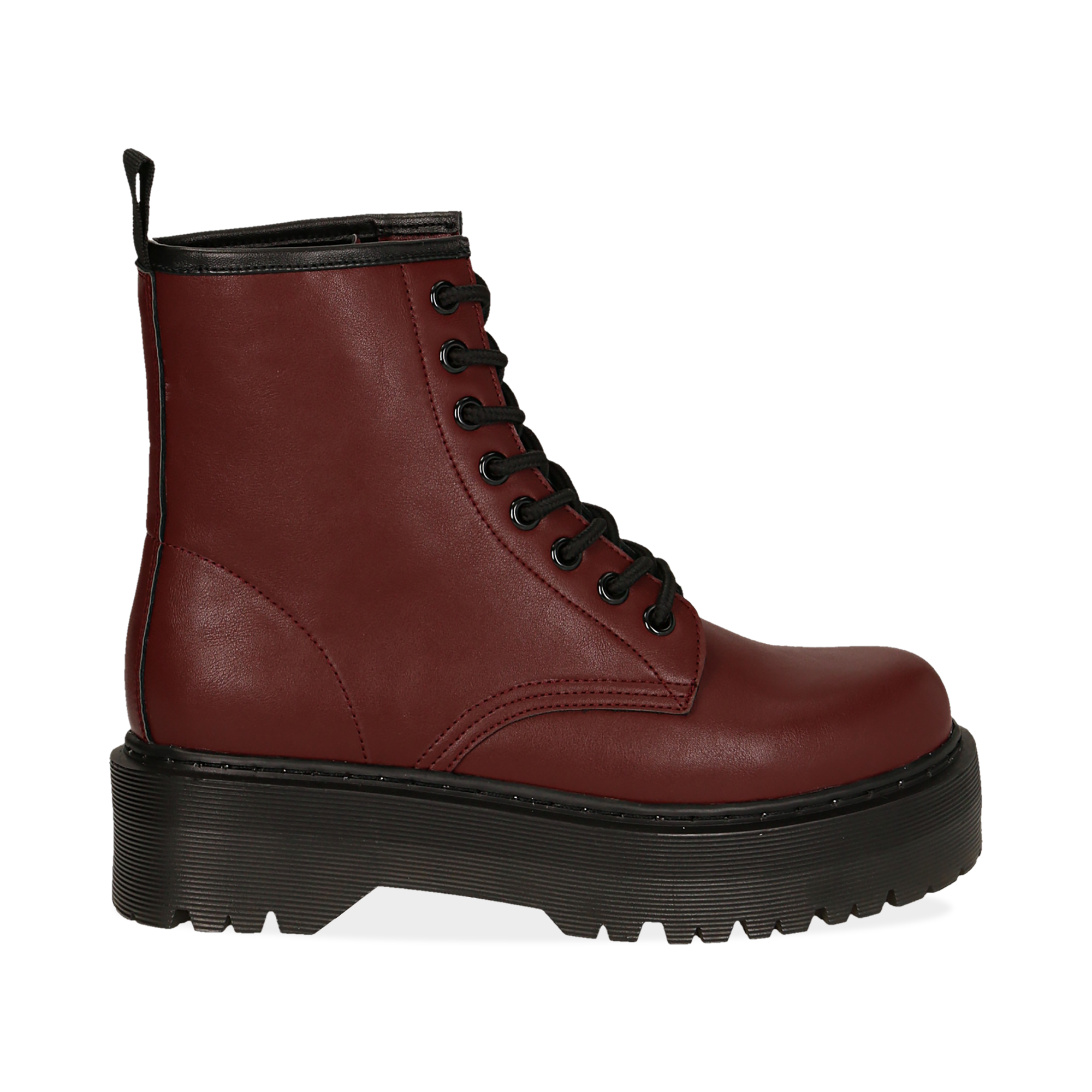 Botas militares en color bordeaux