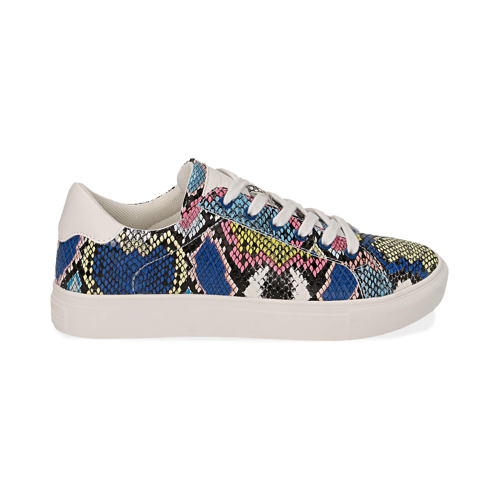 Sneakers en ecopiel con estampado de serpiente color negro/azul
