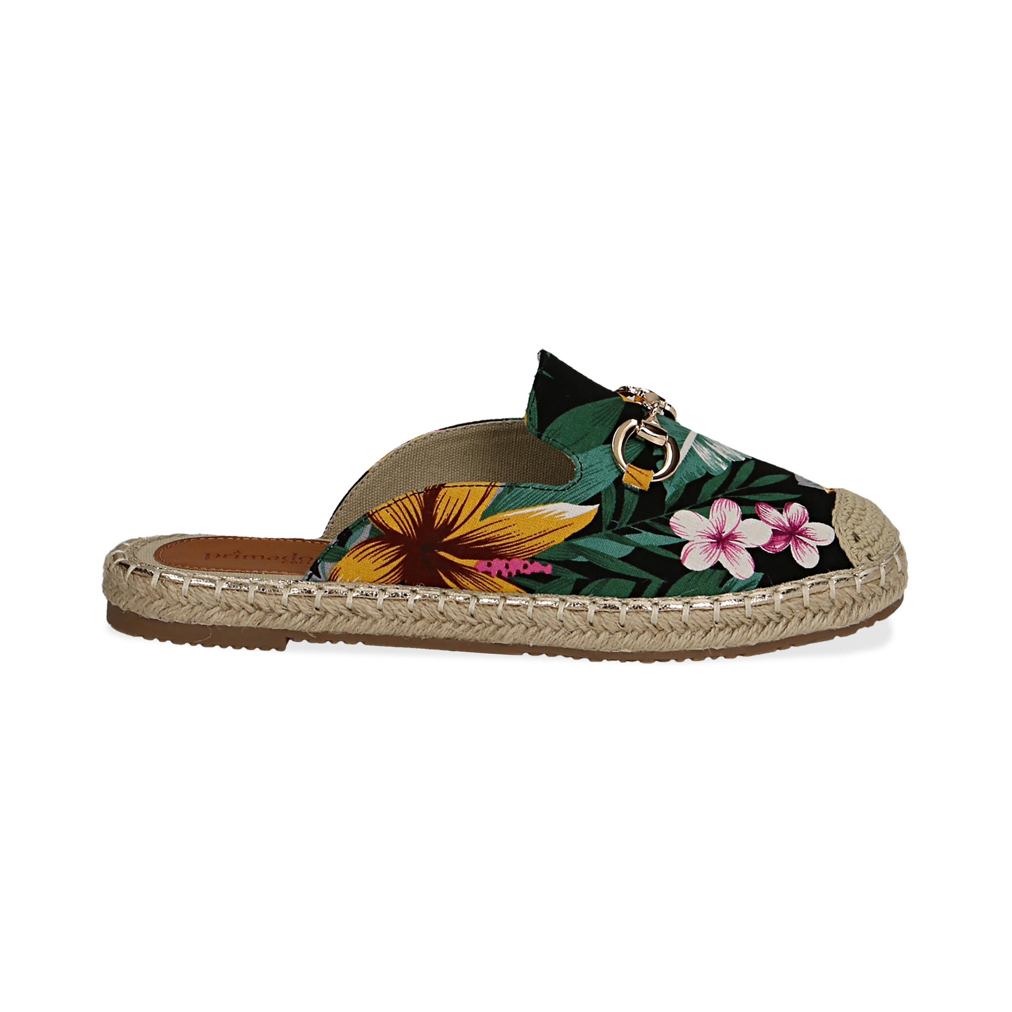Mules espadrillas nere in tessuto jungle