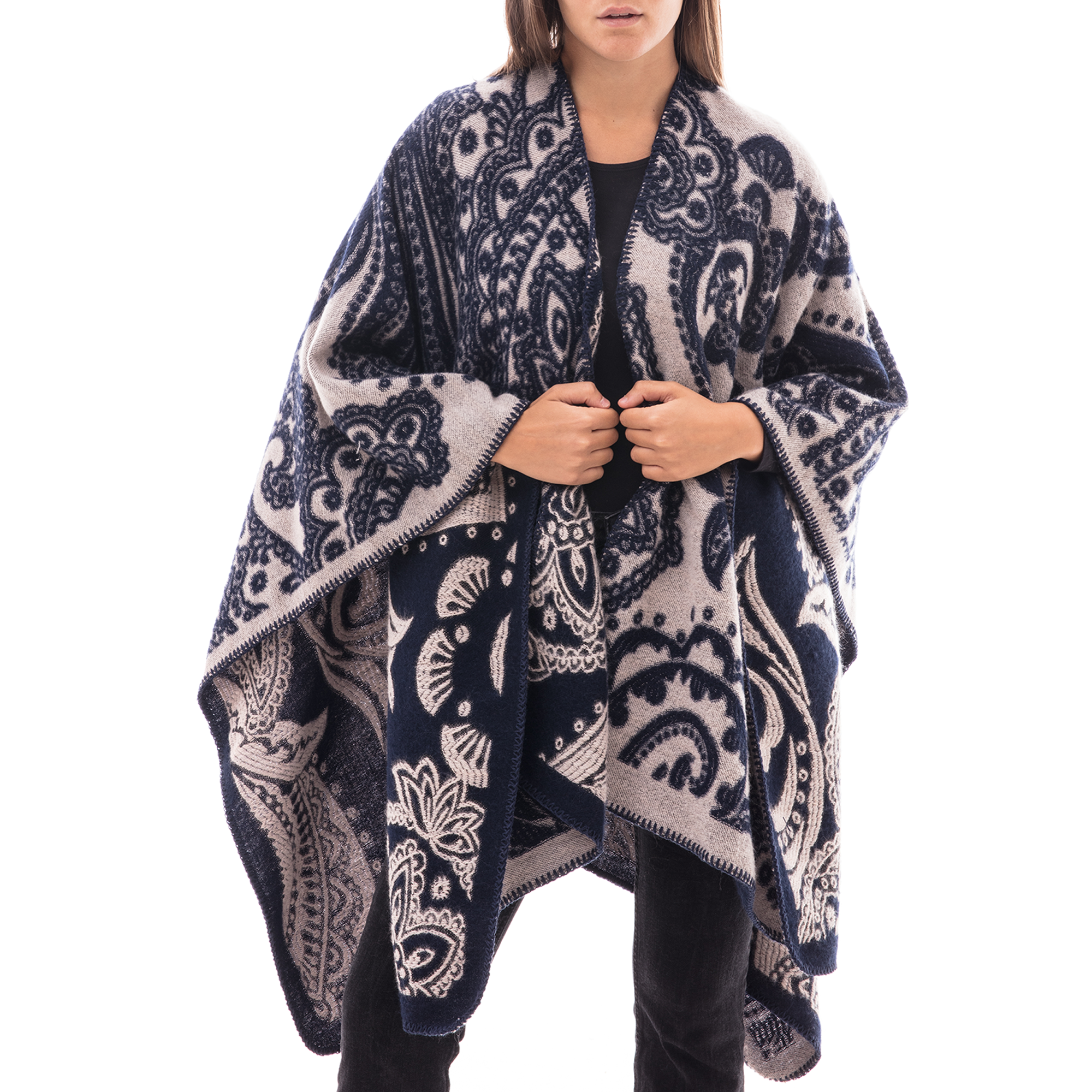 Poncho blu con stampa paisley in tessuto