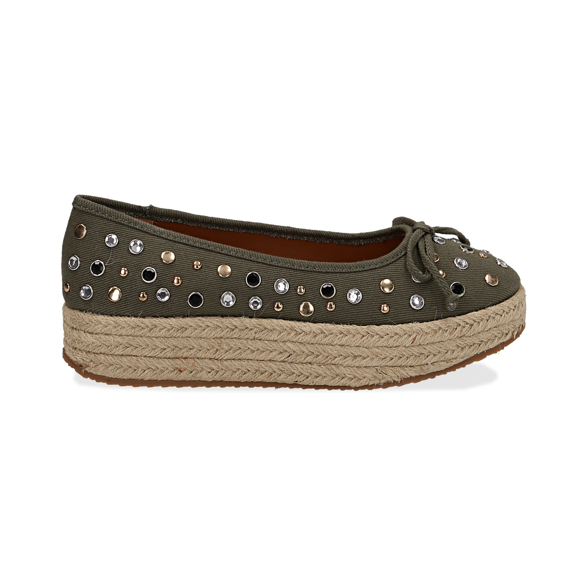 Espadrillas con borchie verdi in canvas