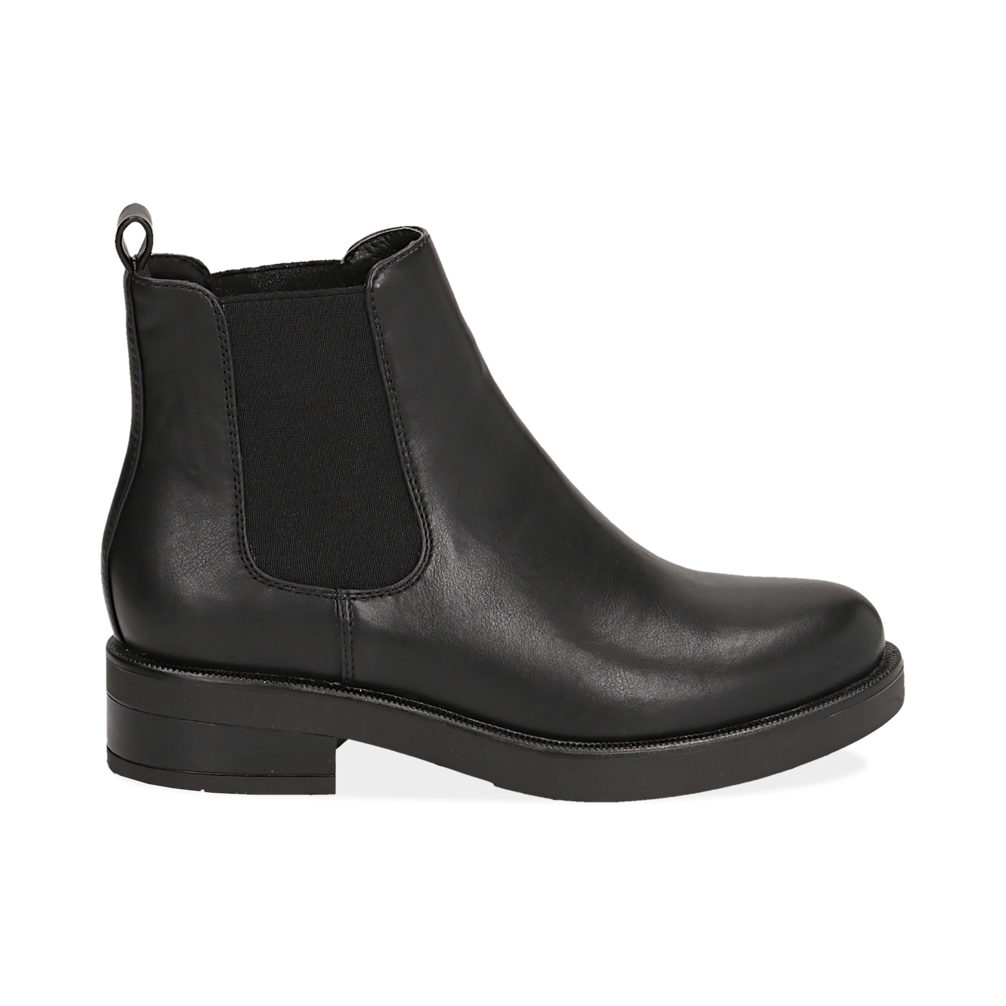 Chelsea boots neri in eco-pelle, tacco 4 cm