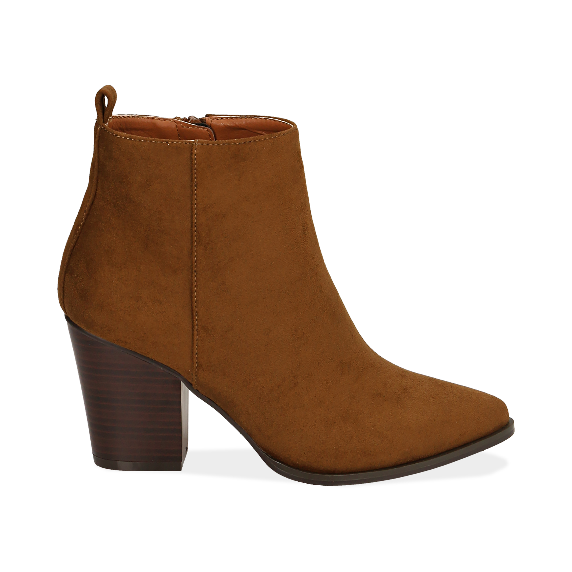 Ankle boots cuoio in microfibra, tacco 8,50 cm