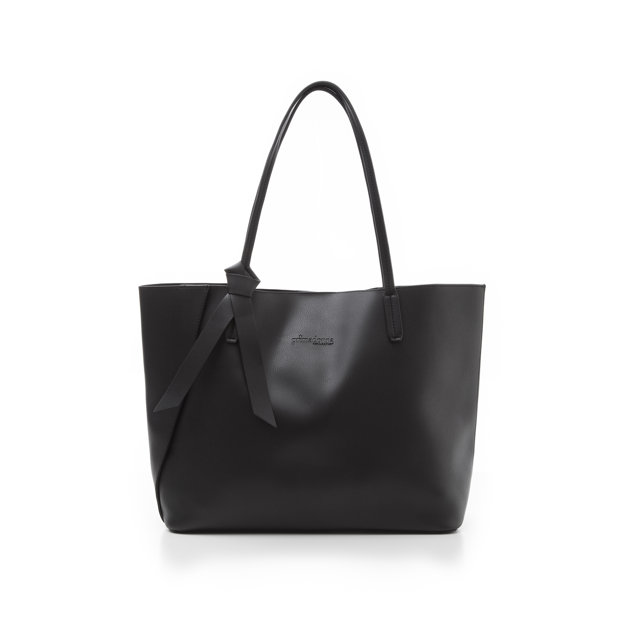 Shopping bag nera in eco-pelle con fiocco decor