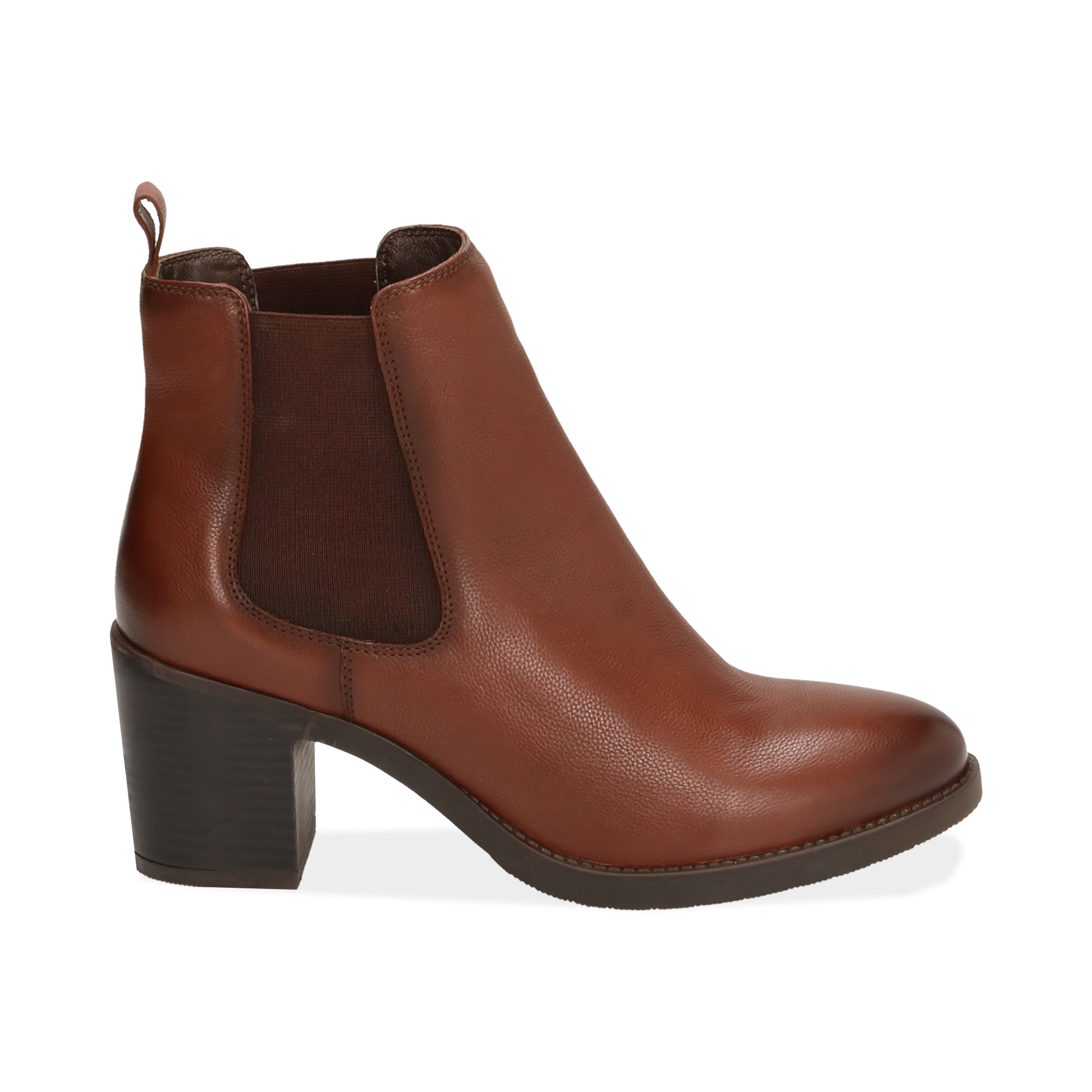 Ankle boots cuoio in pelle, tacco 4,50 cm