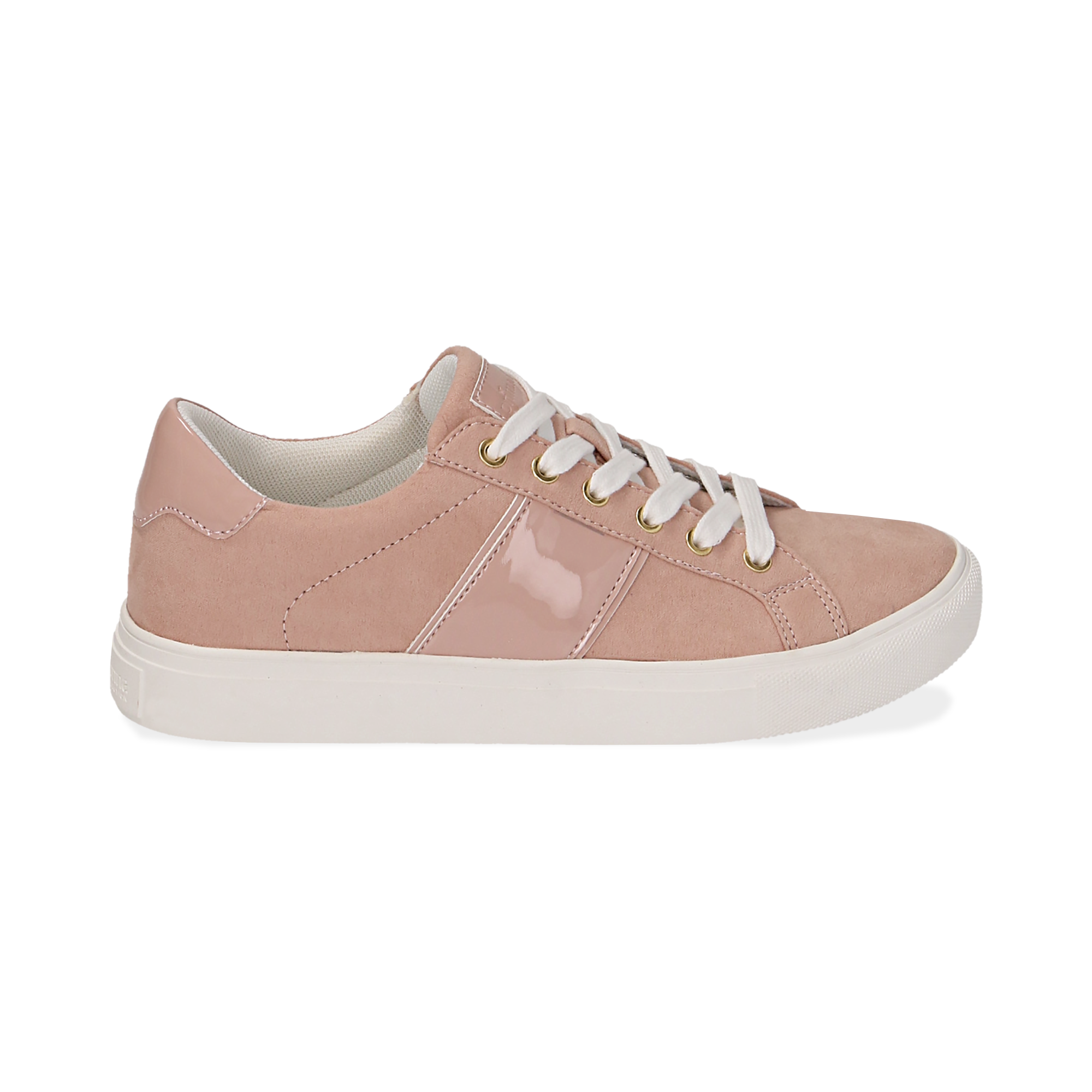 Sneakers de microfibra en color nude