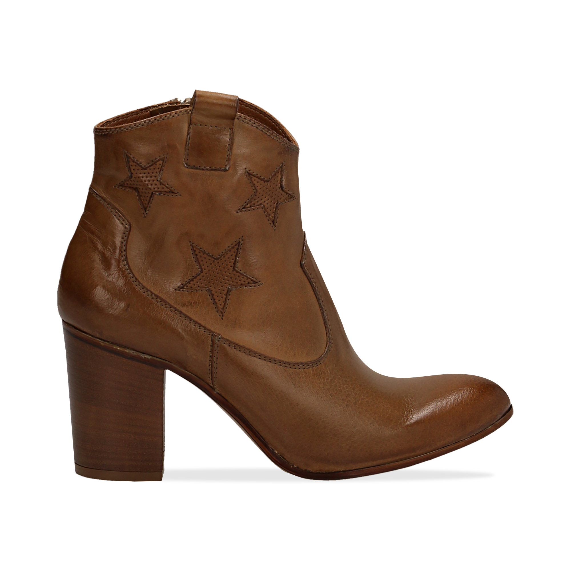 Ankle boots cuoio in pelle con stelle ricamate, tacco 7,50 cm