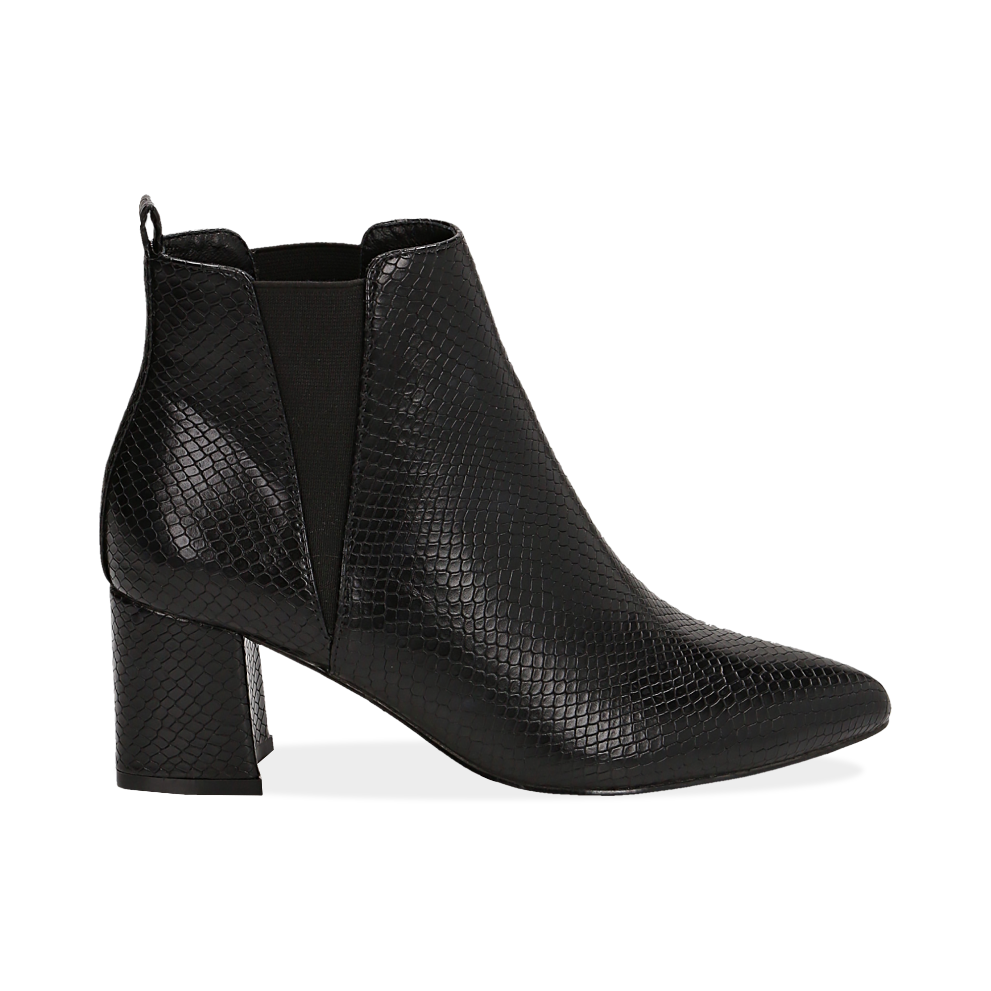 Ankle boots neri effetto snake, tacco 6 cm