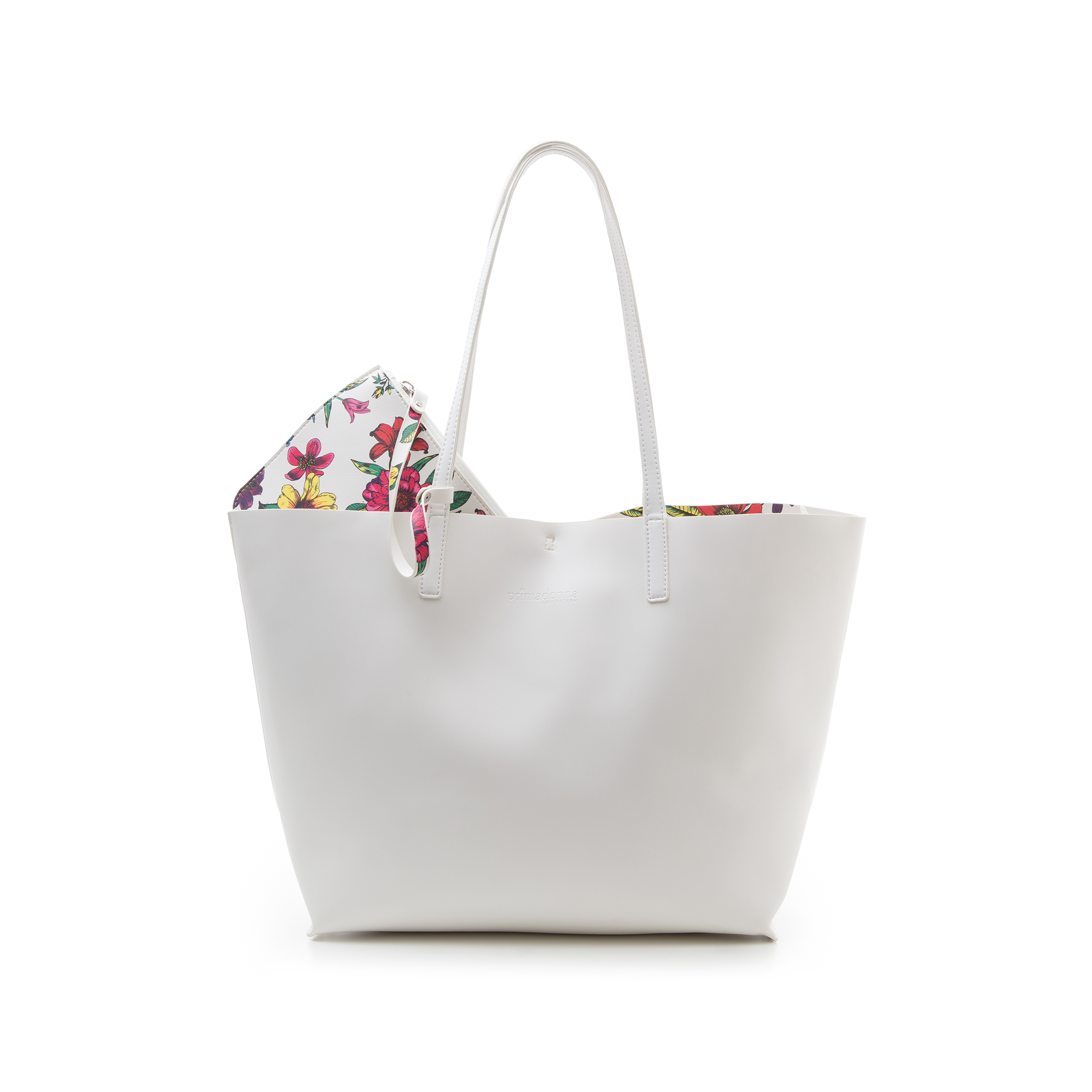 Shopping bag bianca in eco-pelle con pochette ed interni stampa floreale