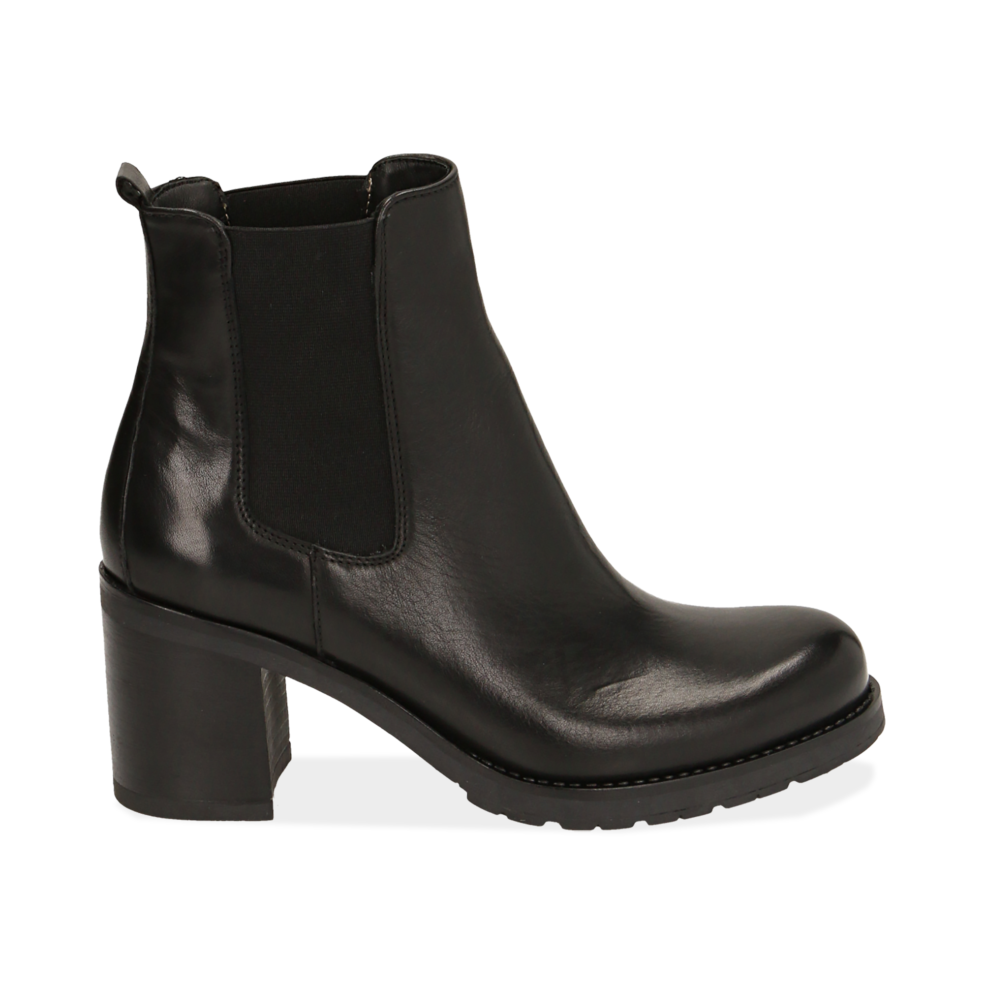 Chelsea boots neri in pelle, tacco 7,50 cm