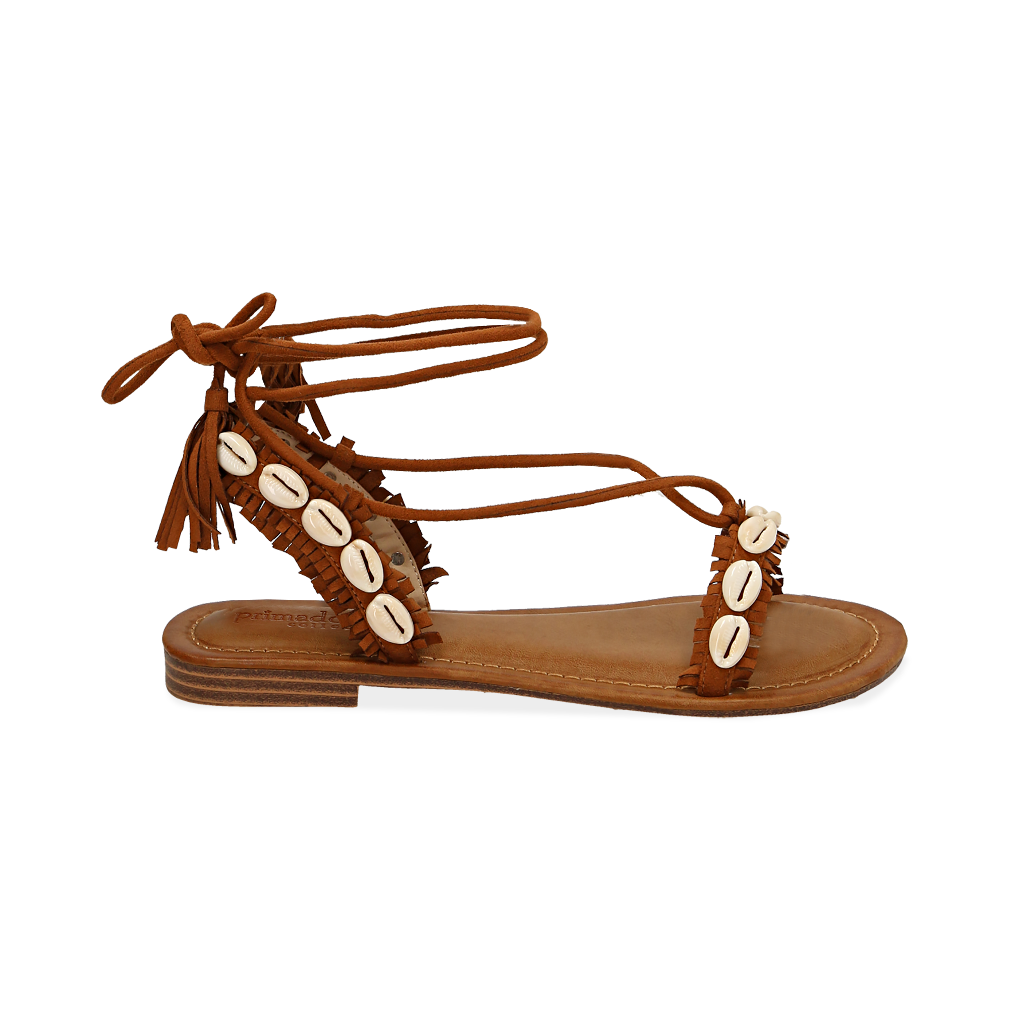 Sandali lace-up cuoio in microfibra con conchiglie