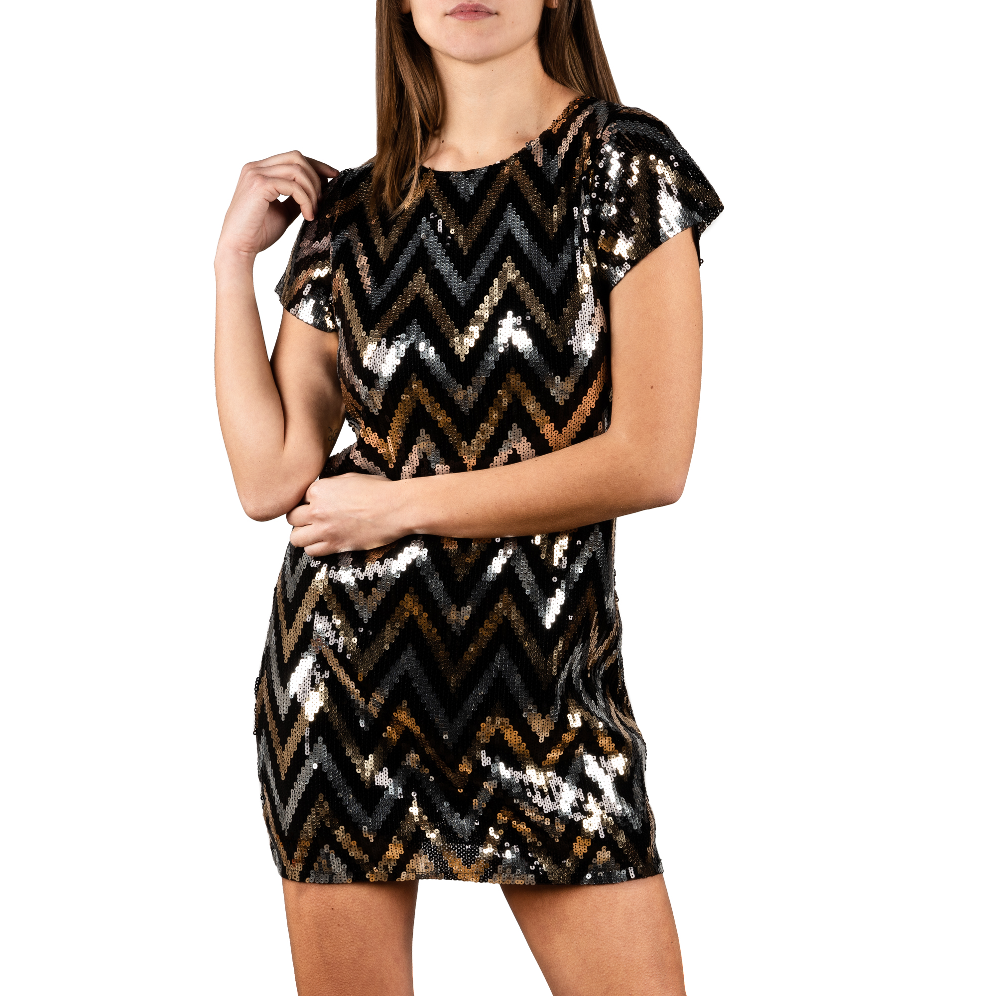 Minidress optical nero/oro con paillettes