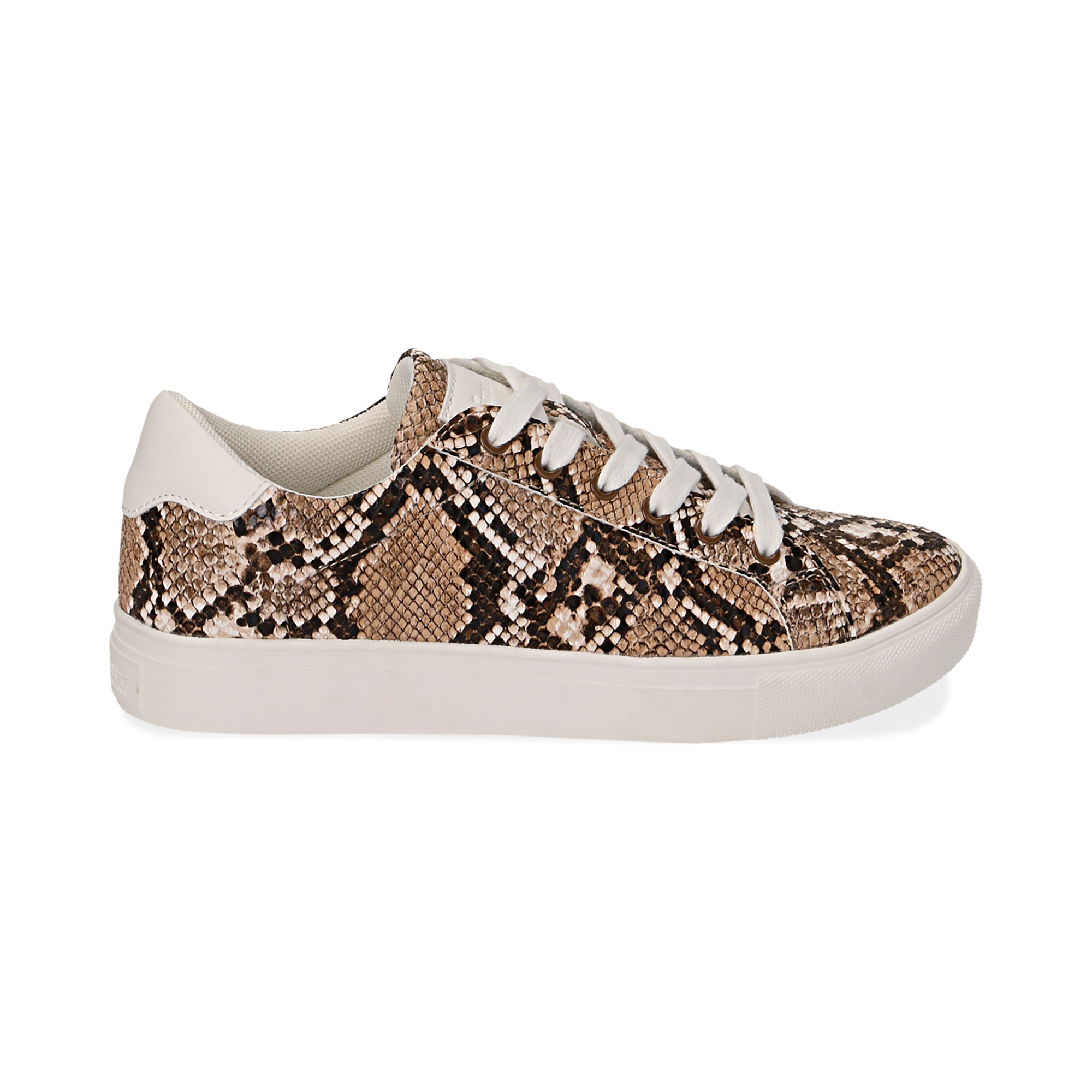 Sneakers en ecopiel con estampado de serpiente color beige