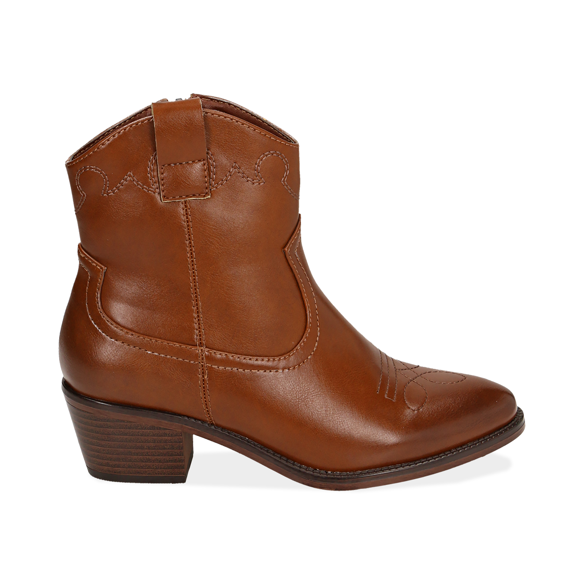 Ankle boots cuoio, tacco 5,50 cm