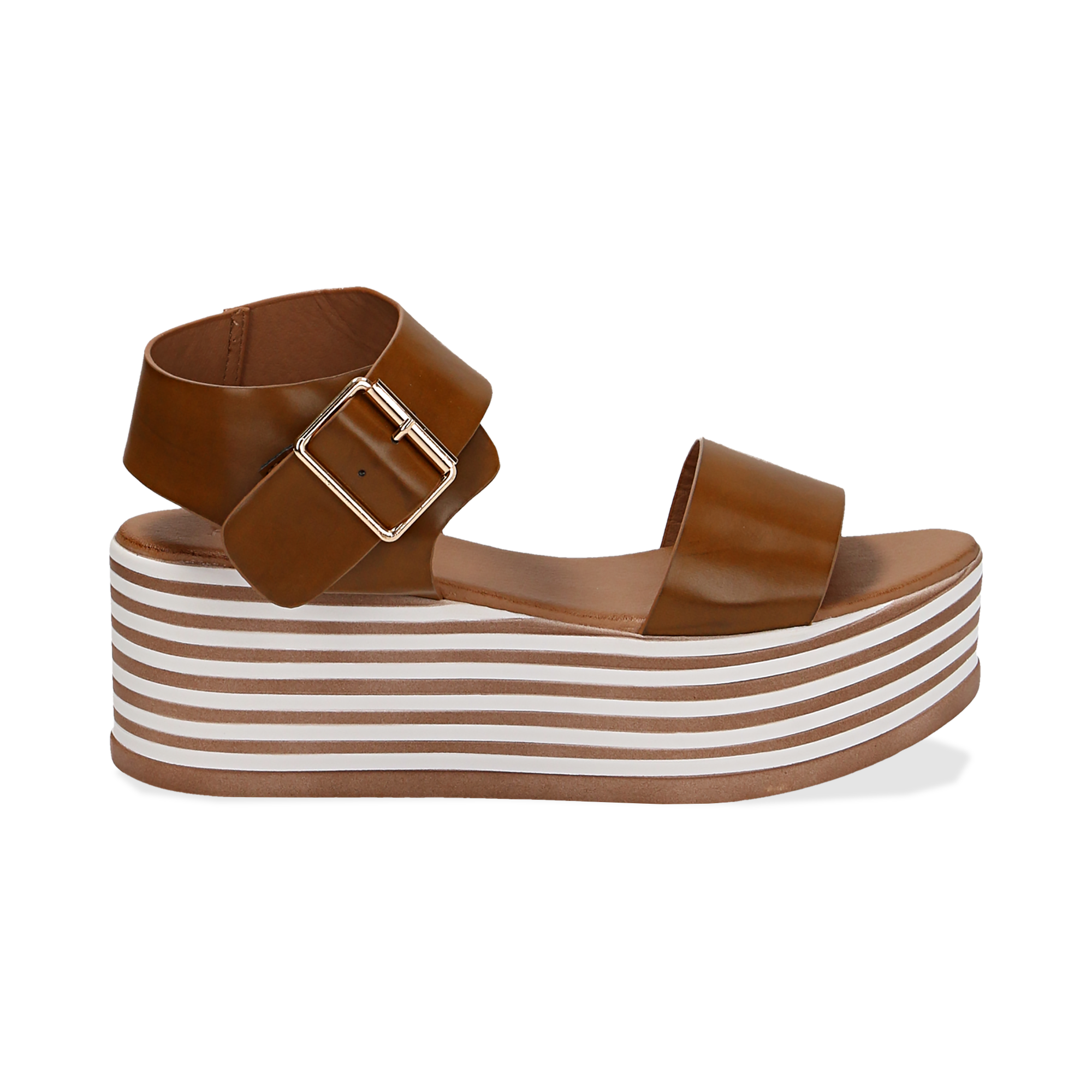 Sandali platform cuoio in eco-pelle, zeppa optical 6,50 cm