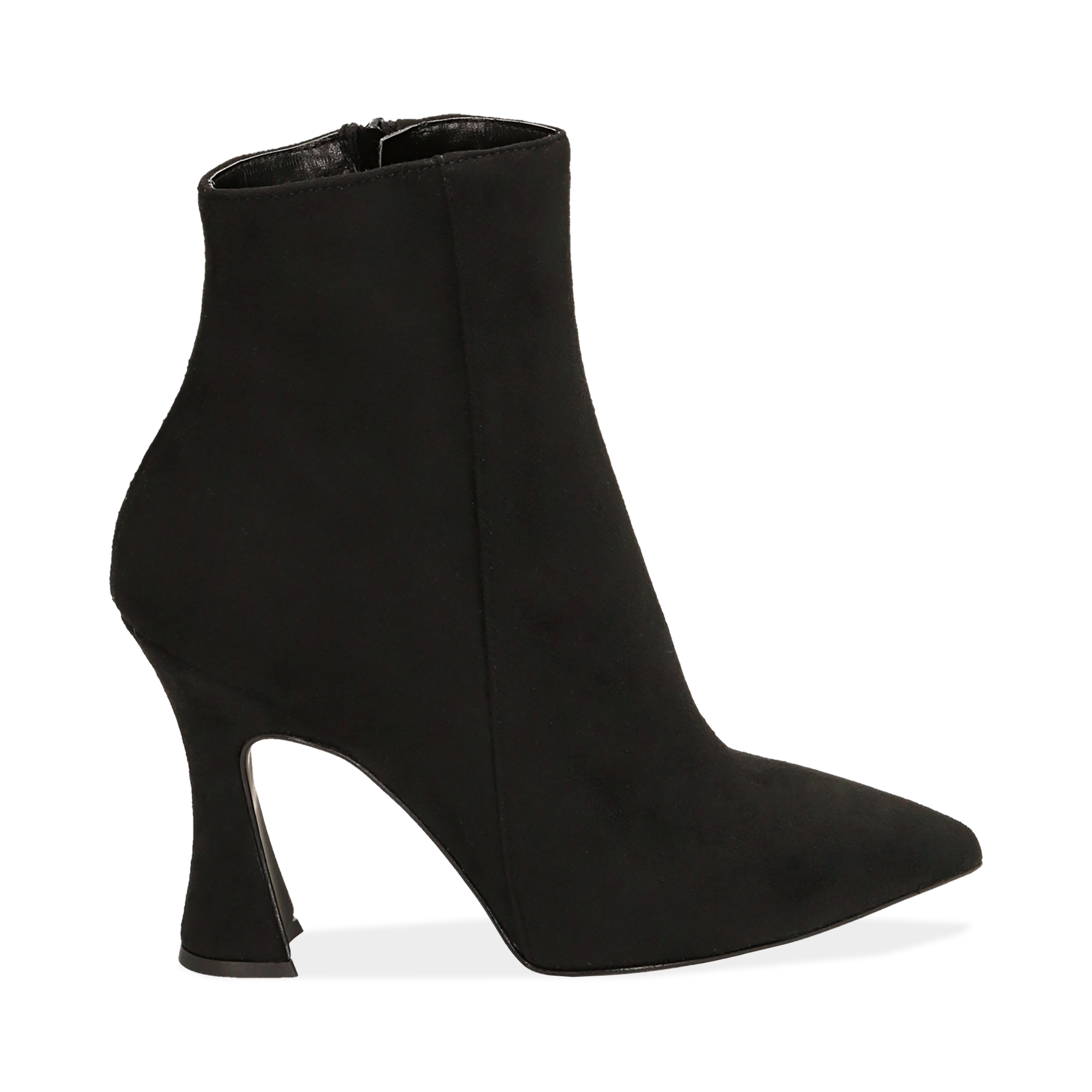 Ankle boots neri in microfibra, tacco 10 cm