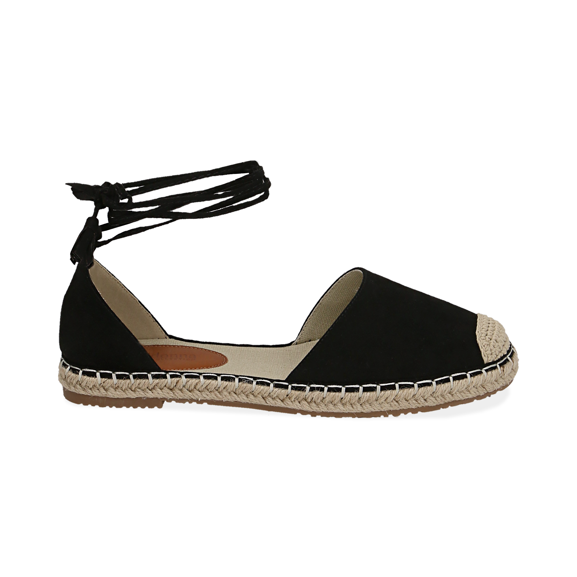 Espadrillas lace-up nere in microfibra