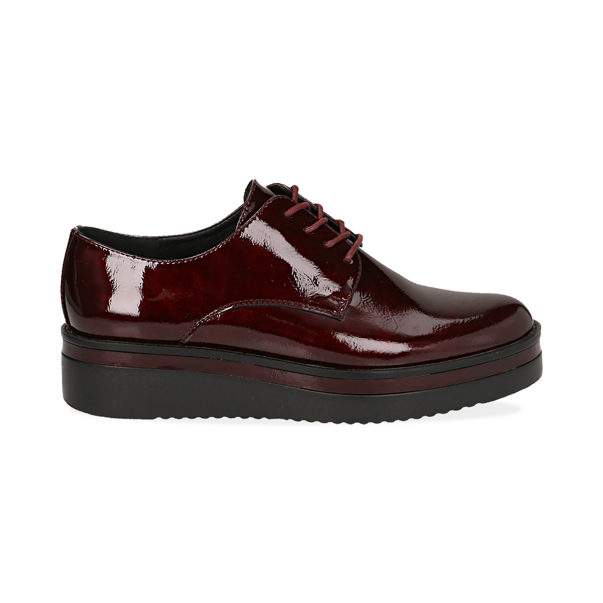 Stringate bordeaux in vernice, zeppa 4 cm