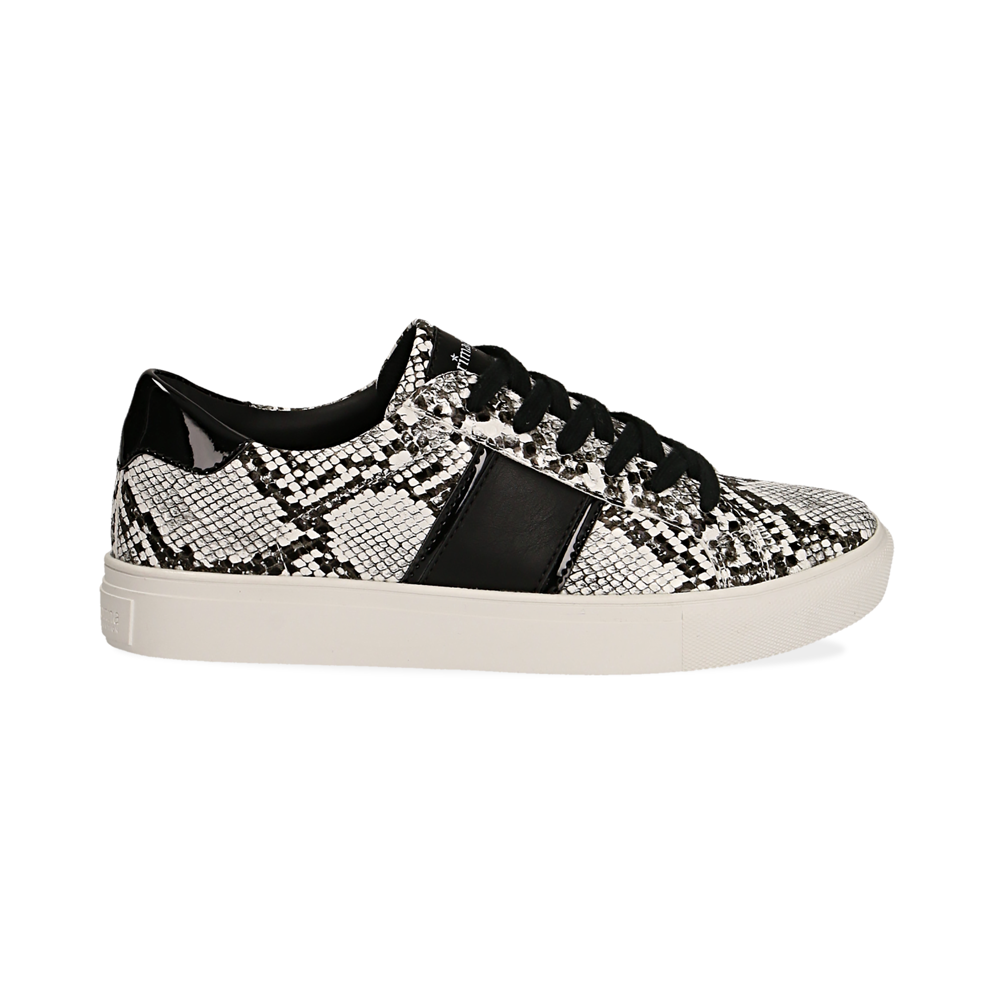 Sneakers bianco/nere in eco-pelle, effetto snake skin