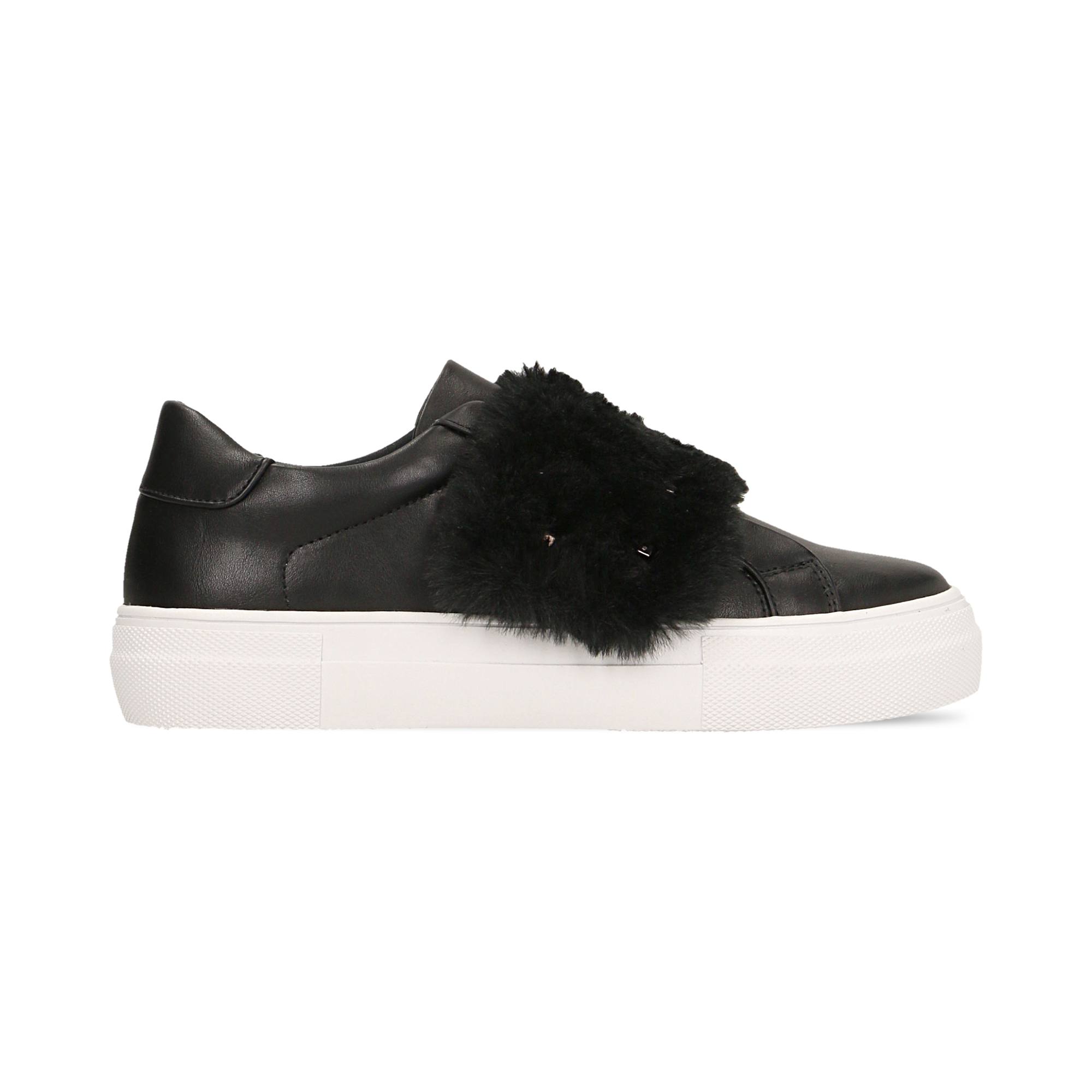 Sneakers nere Slip-on con dettagli faux-fur e borchie