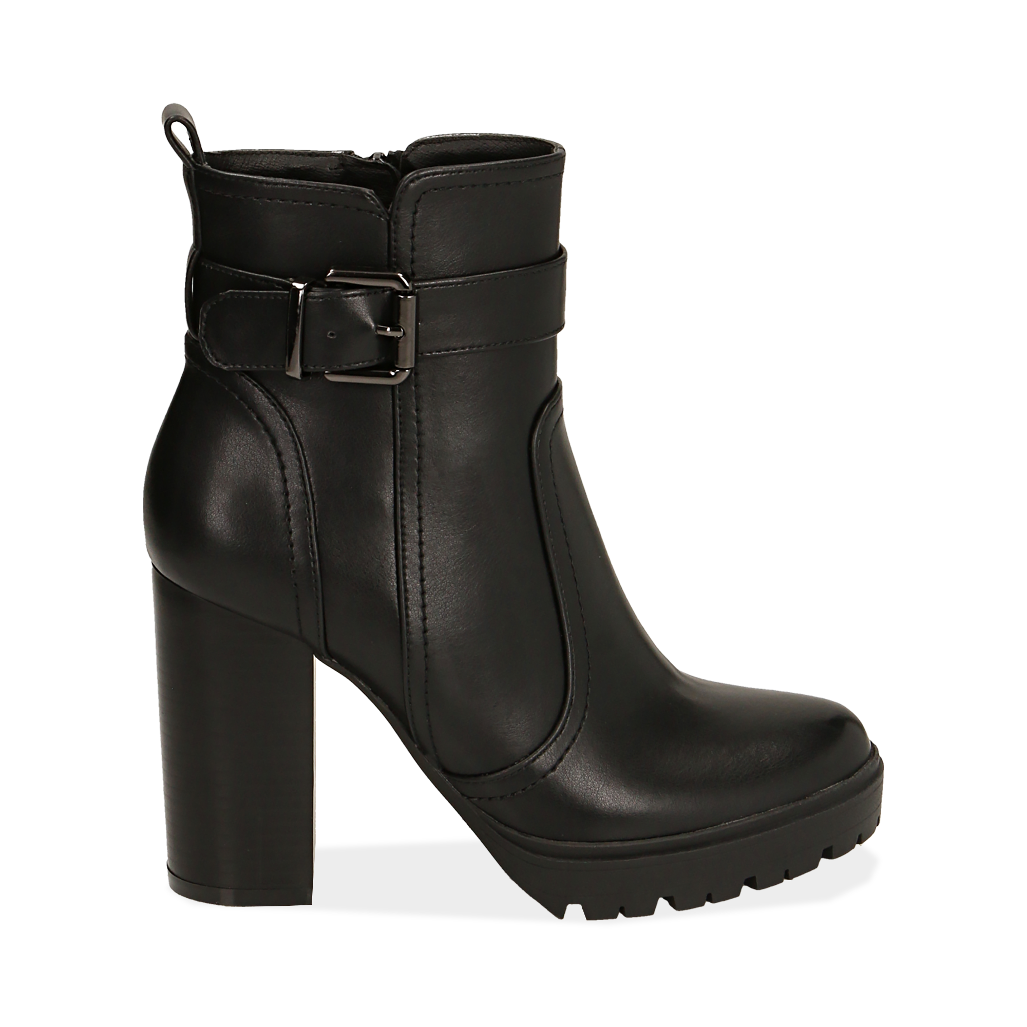 Ankle boots neri, tacco 10 cm