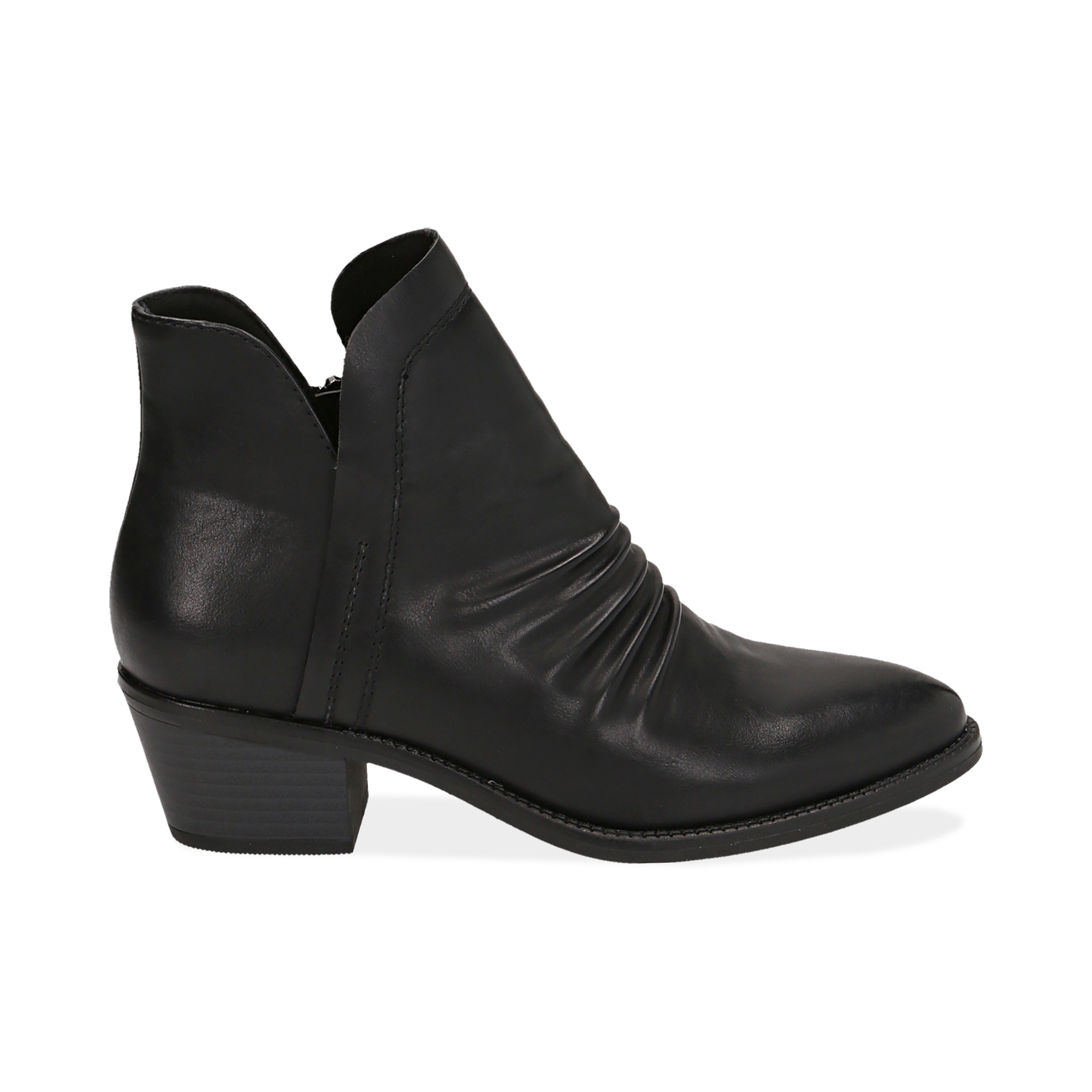 Ankle boots neri in eco-pelle, tacco 4,50 cm