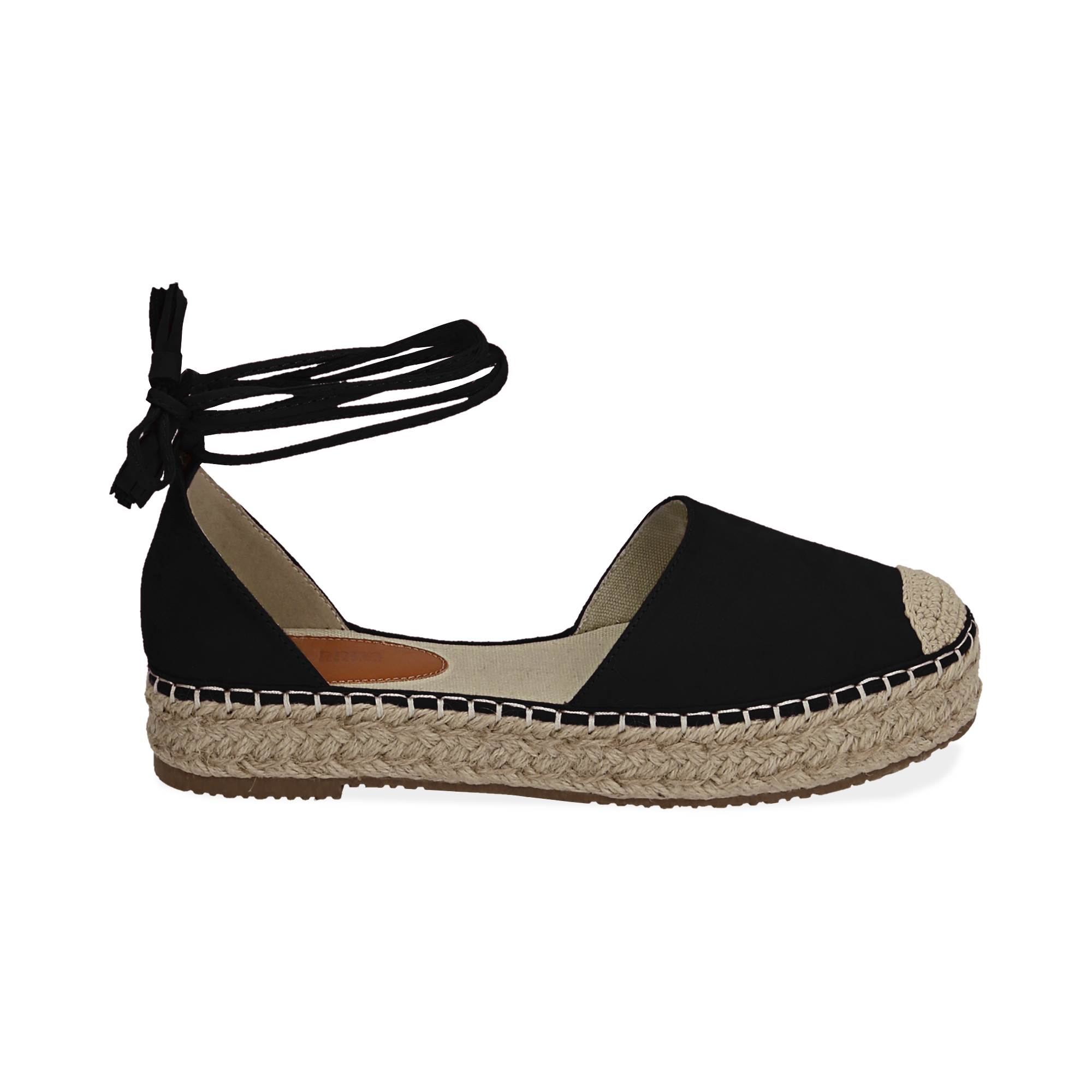 WOMEN SHOES ESPADRILLAS MICROFIBER NERO