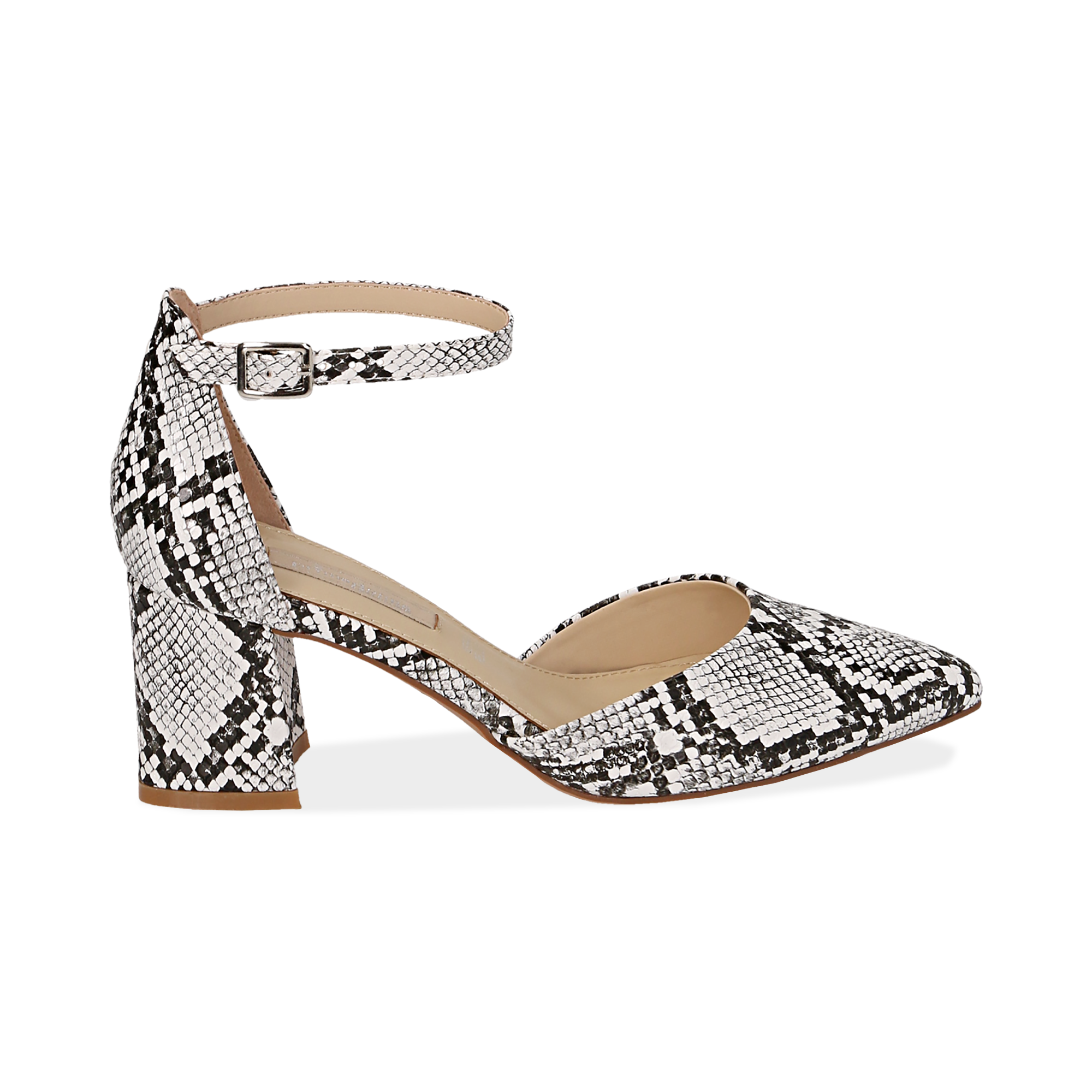 Décolleté con cinturino bianco/nere in eco-pelle snake print, tacco 6,50
