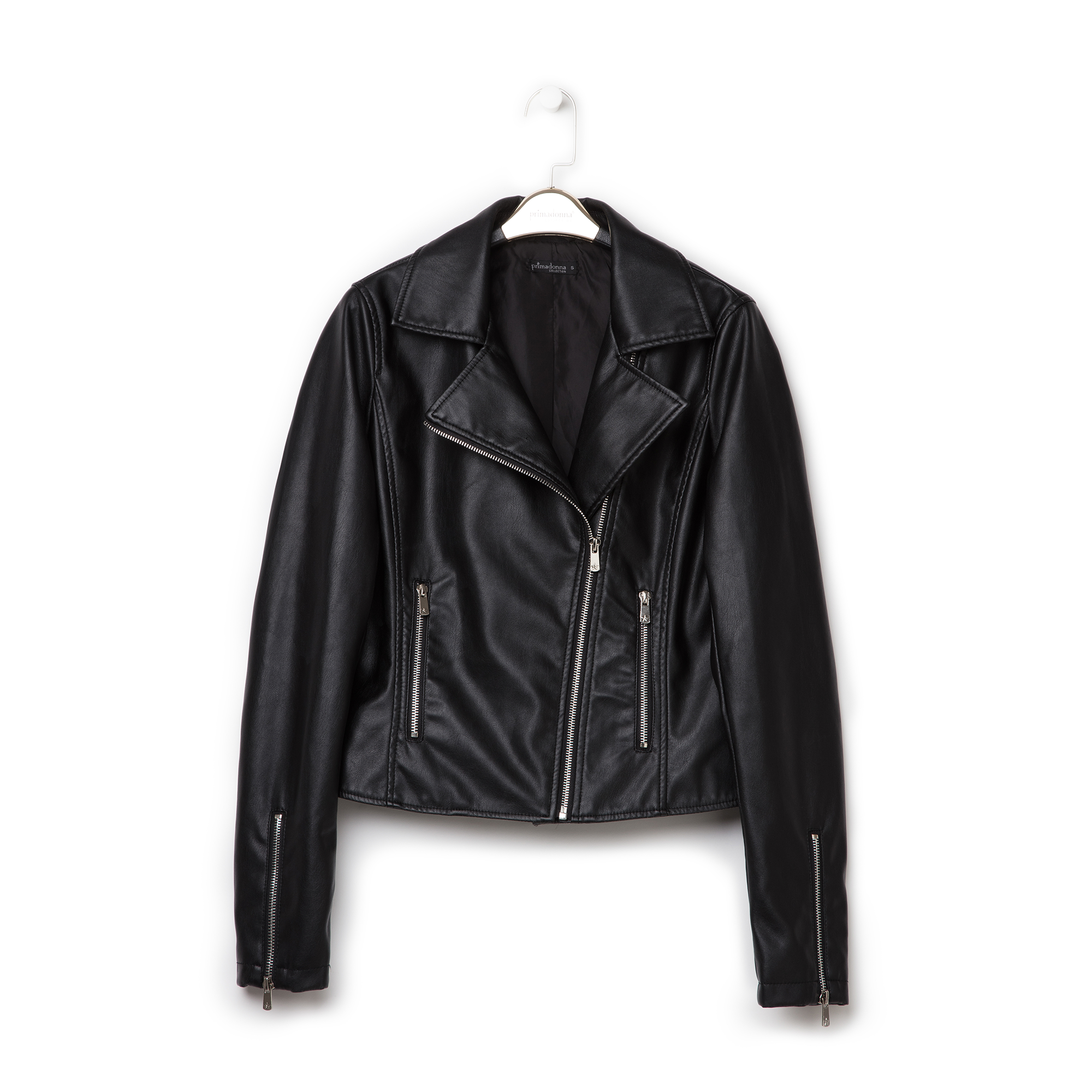 Biker jacket nera in eco-pelle
