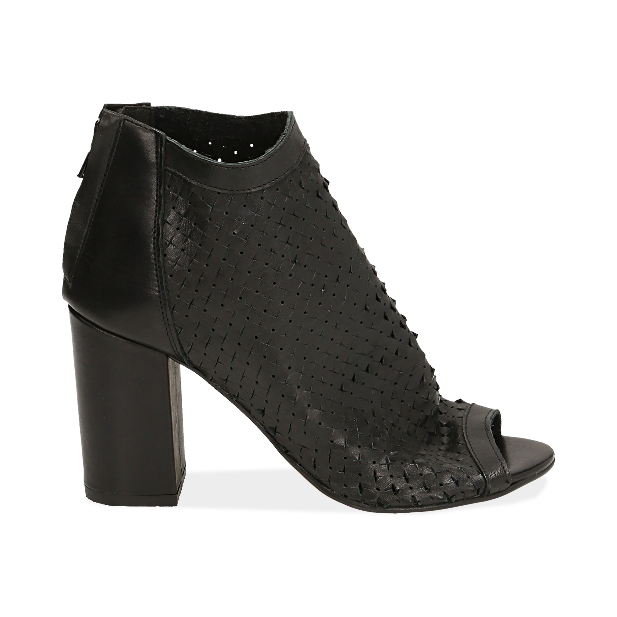 Ankle boots open toe neri in pelle di vitello, tacco 9 cm