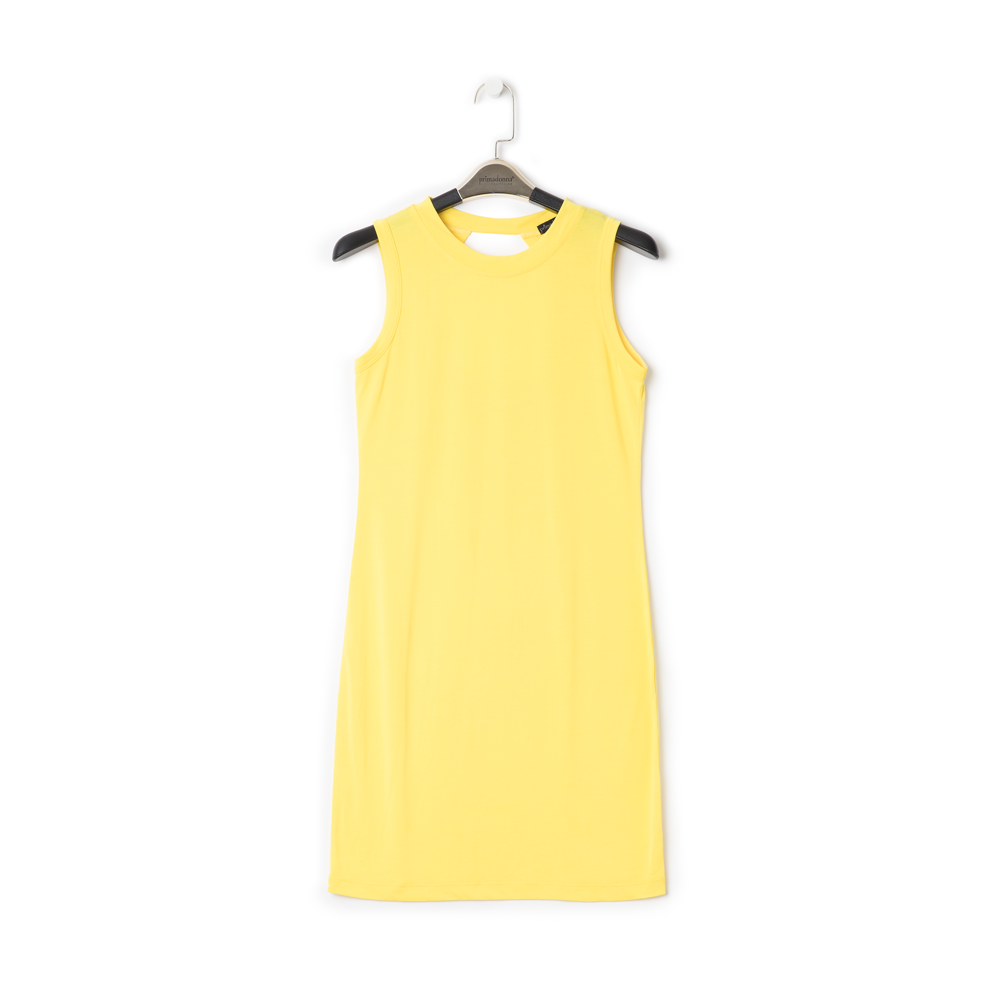 Mini-dress giallo con scollo sul retro