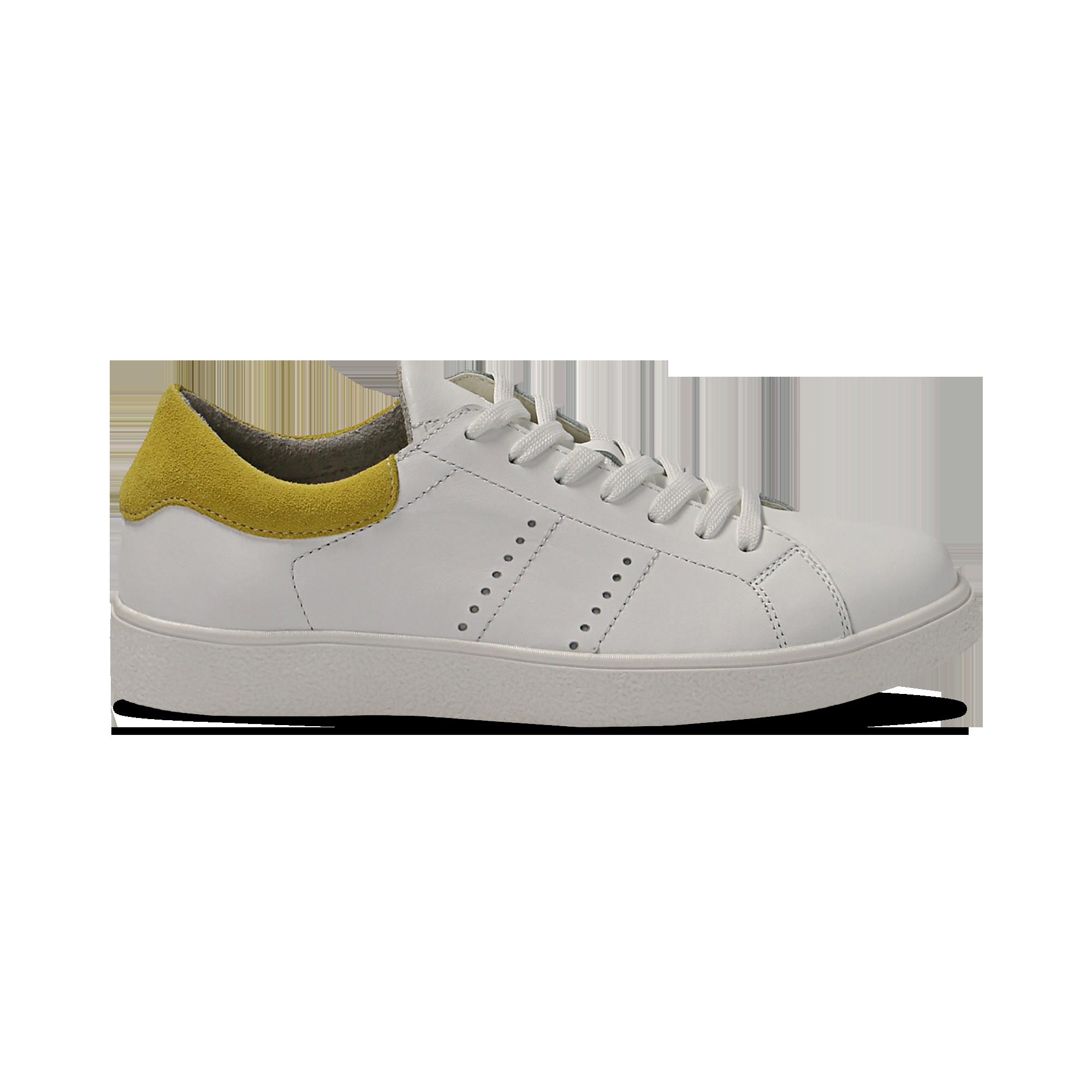 14 Sneakers bianche in vera pelle e dettaglio giallo in camoscio 5d785f1b8e5