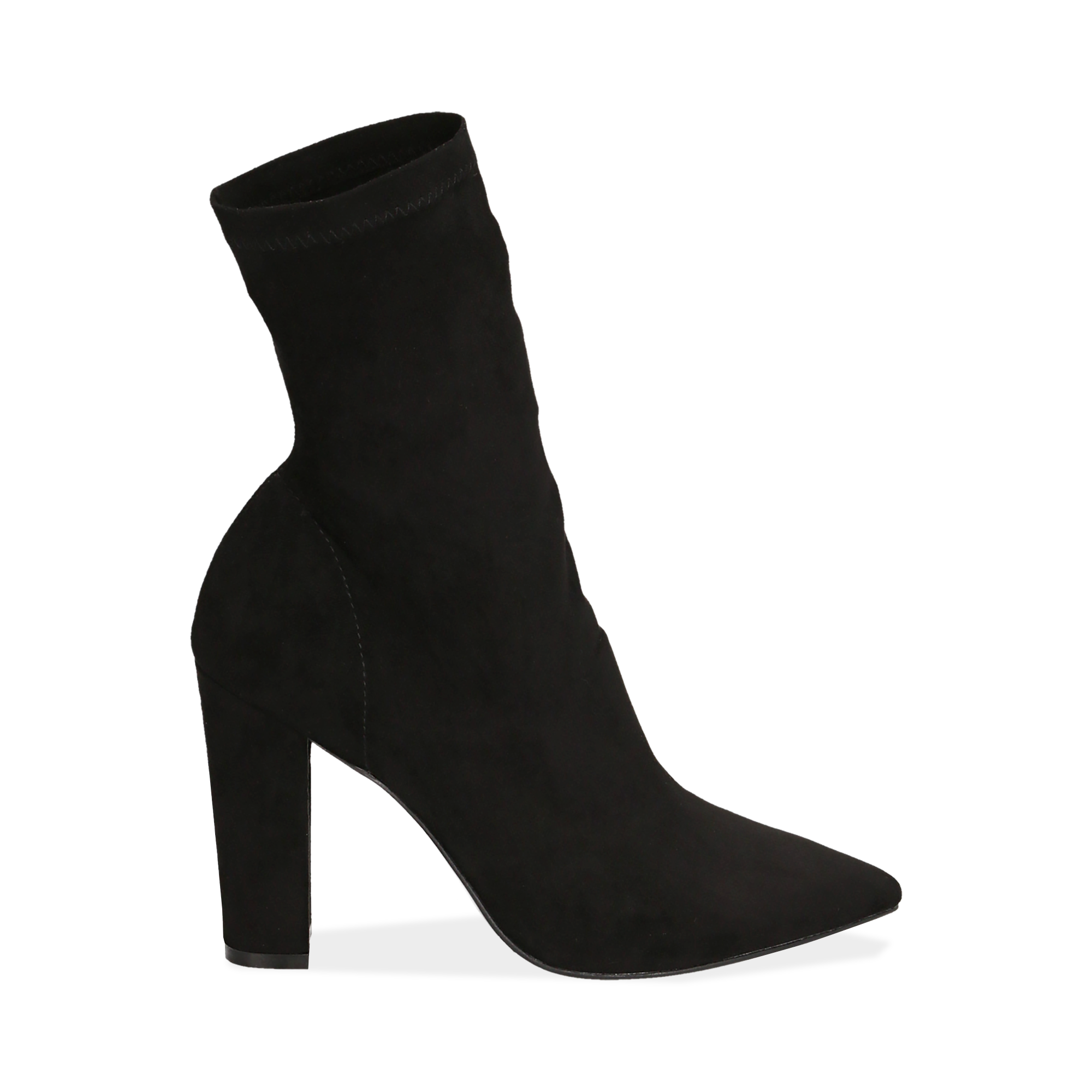 Ankle boots a punta neri in microfibra, tacco 10 cm
