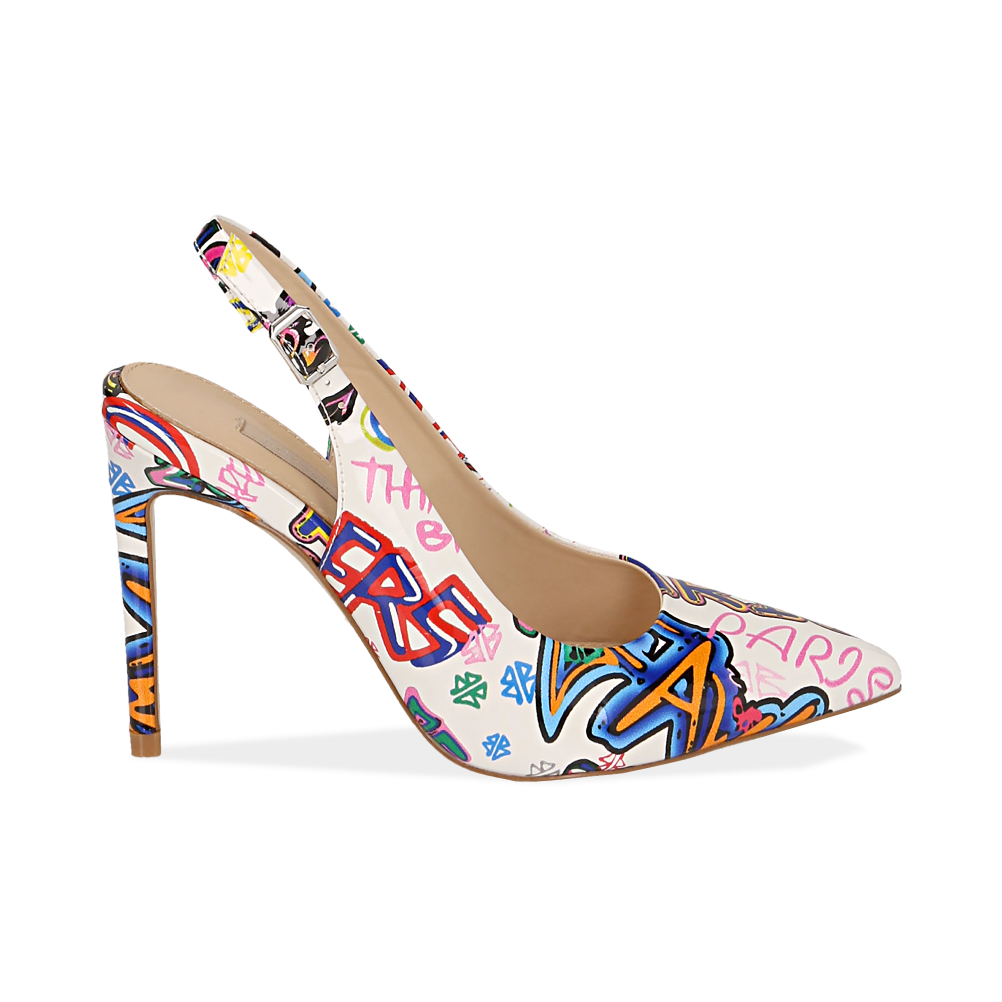 Slingback cartoon blanches en vernis, talon 10 cm