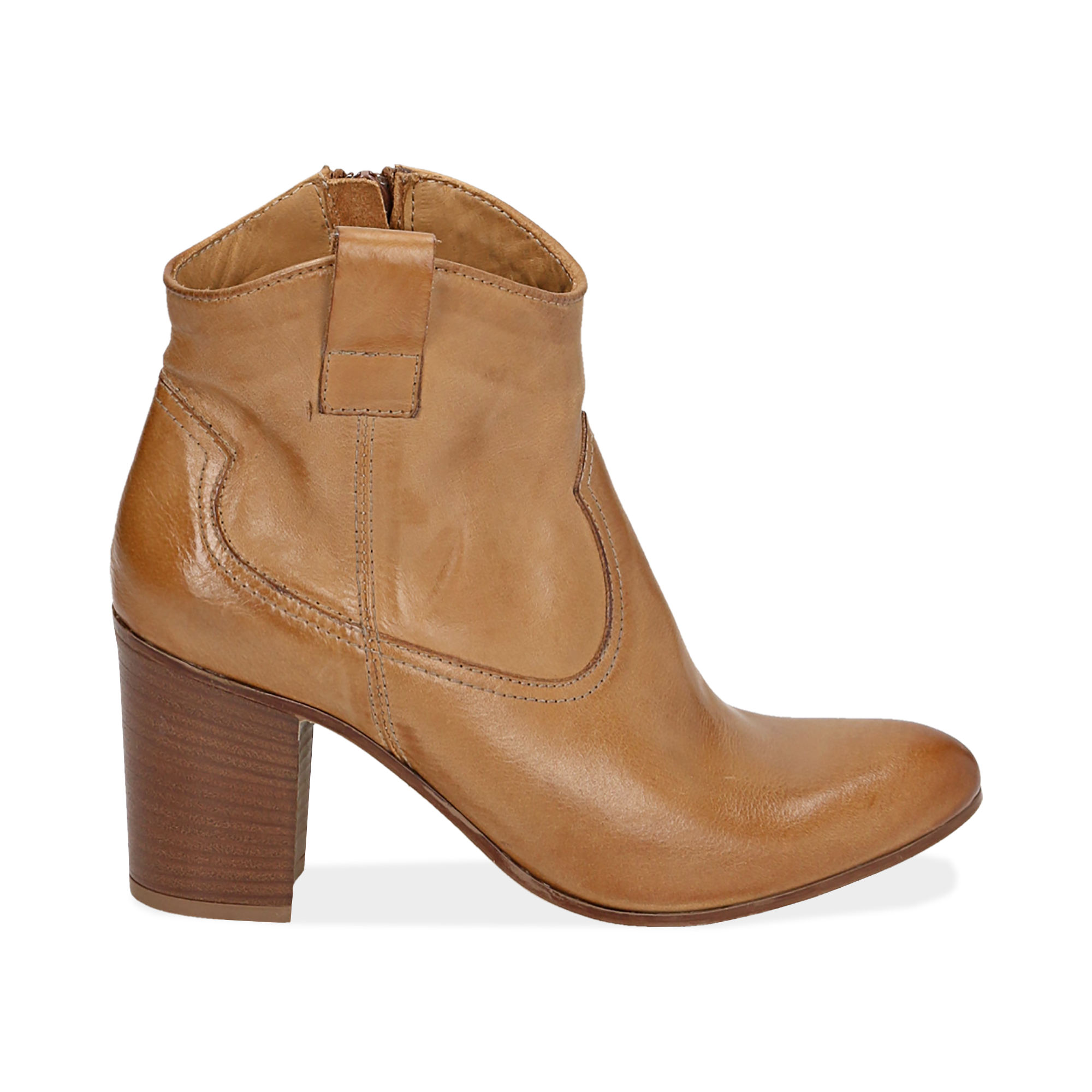 Bottines camel en cuir, talon 7,50 cm