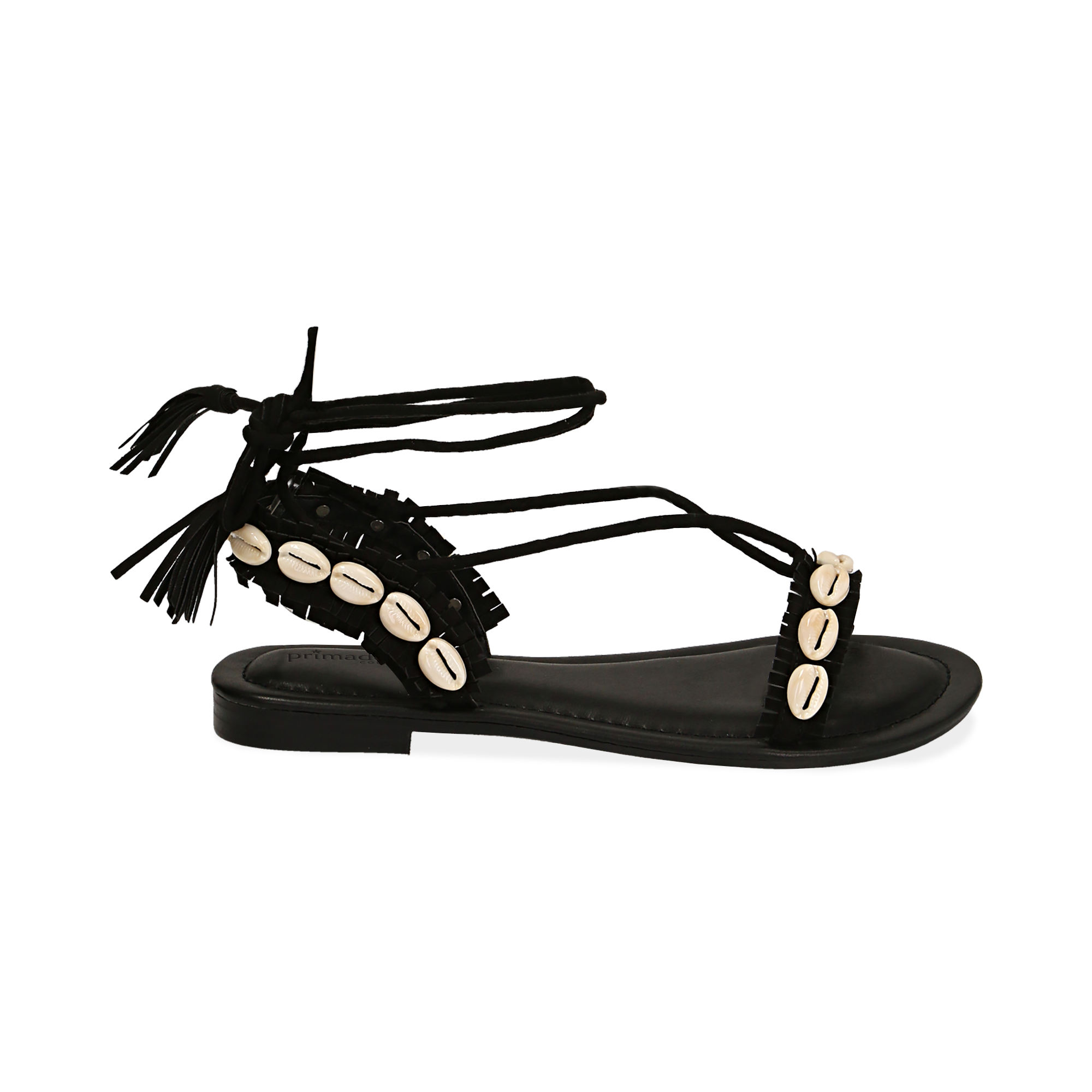 Sandali lace-up neri in microfibra con conchiglie
